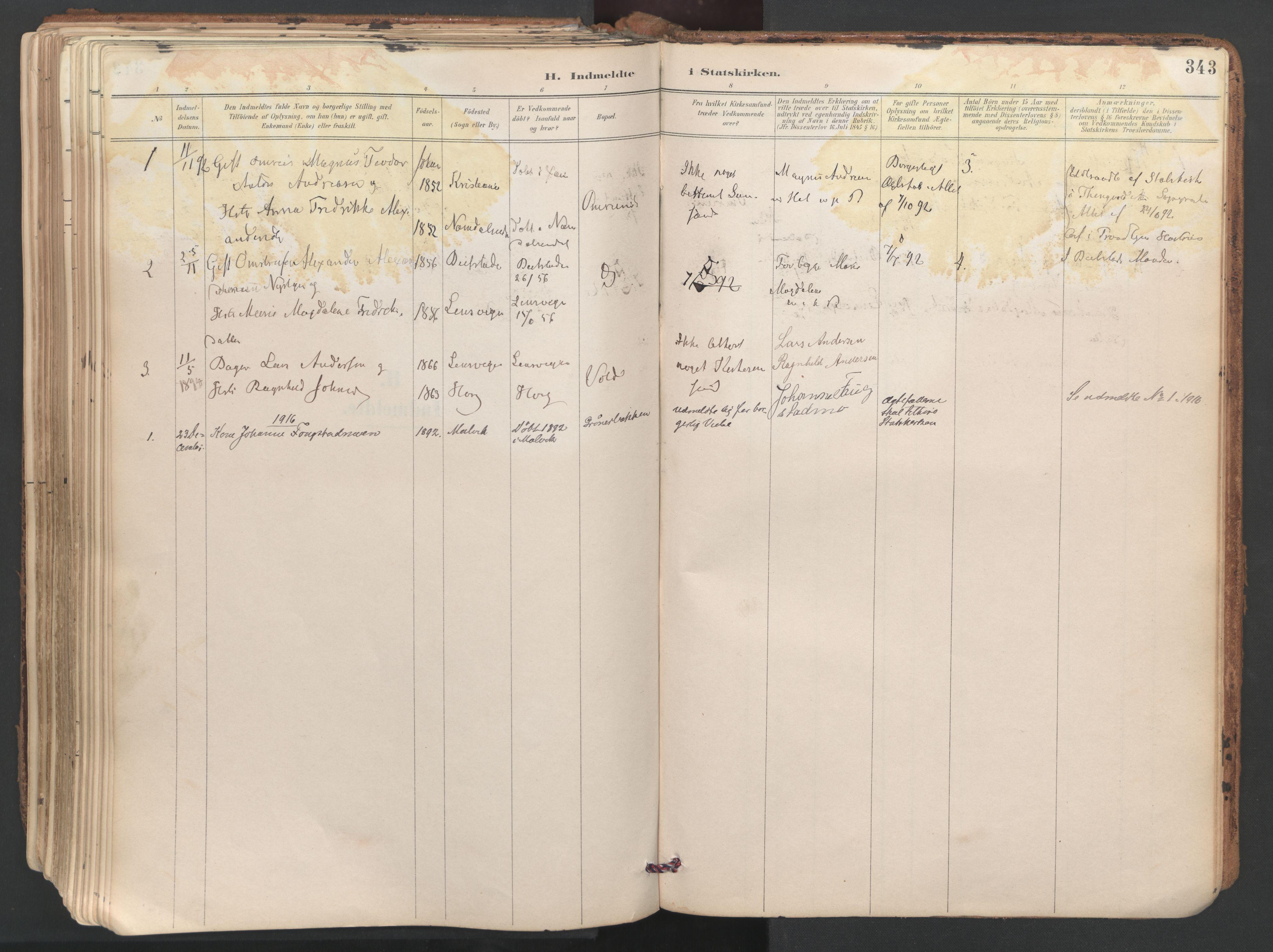 SAT, Ministerialprotokoller, klokkerbøker og fødselsregistre - Sør-Trøndelag, 687/L1004: Ministerialbok nr. 687A10, 1891-1923, s. 343