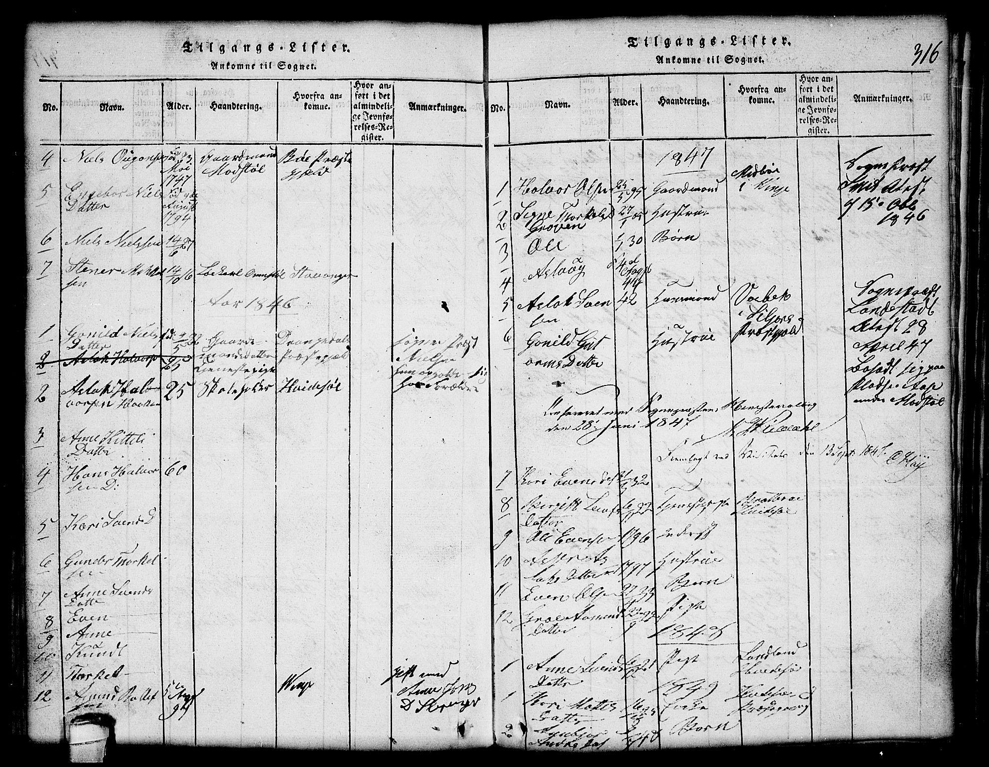SAKO, Lårdal kirkebøker, G/Gc/L0001: Klokkerbok nr. III 1, 1815-1854, s. 316