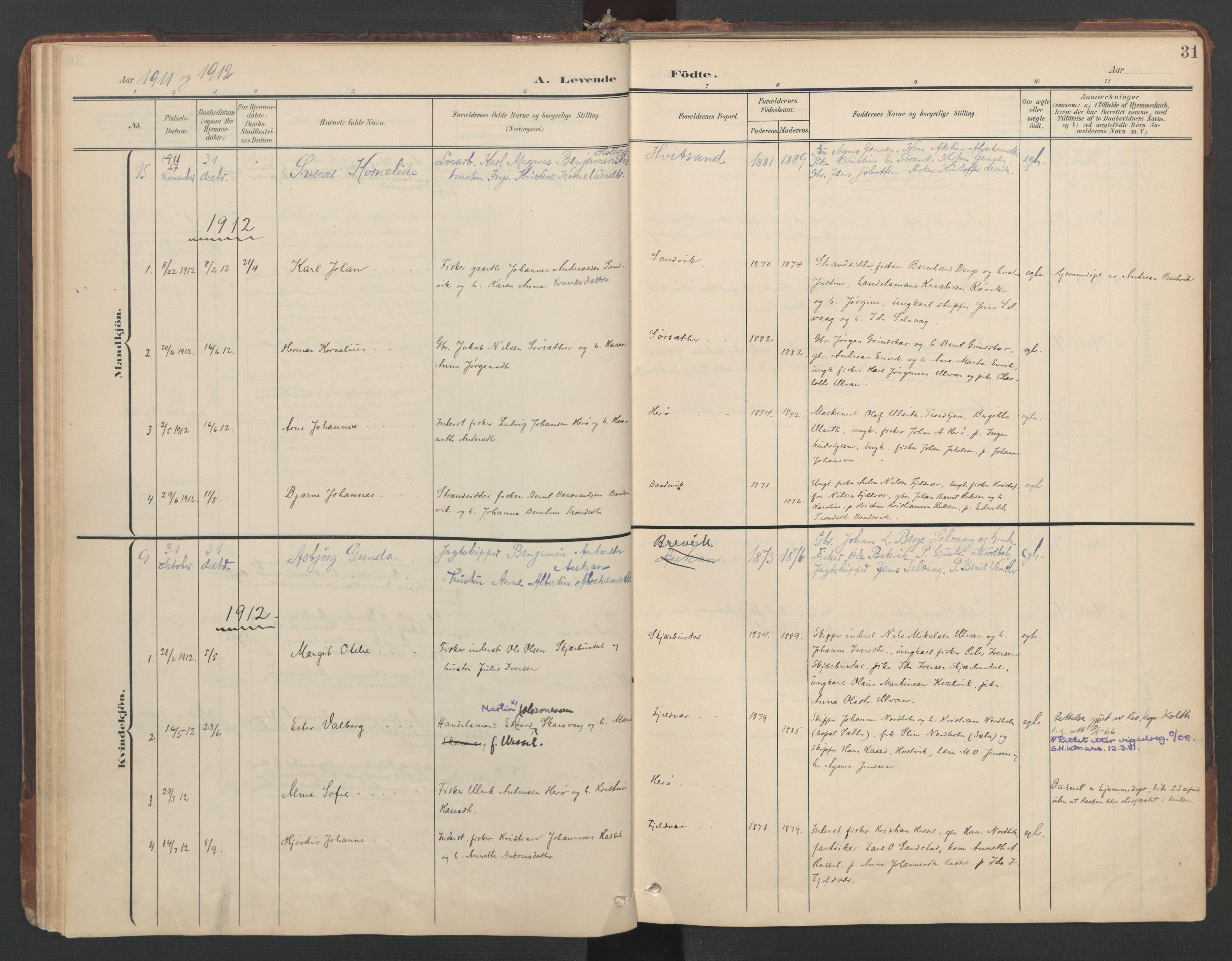 SAT, Ministerialprotokoller, klokkerbøker og fødselsregistre - Sør-Trøndelag, 638/L0568: Ministerialbok nr. 638A01, 1901-1916, s. 31