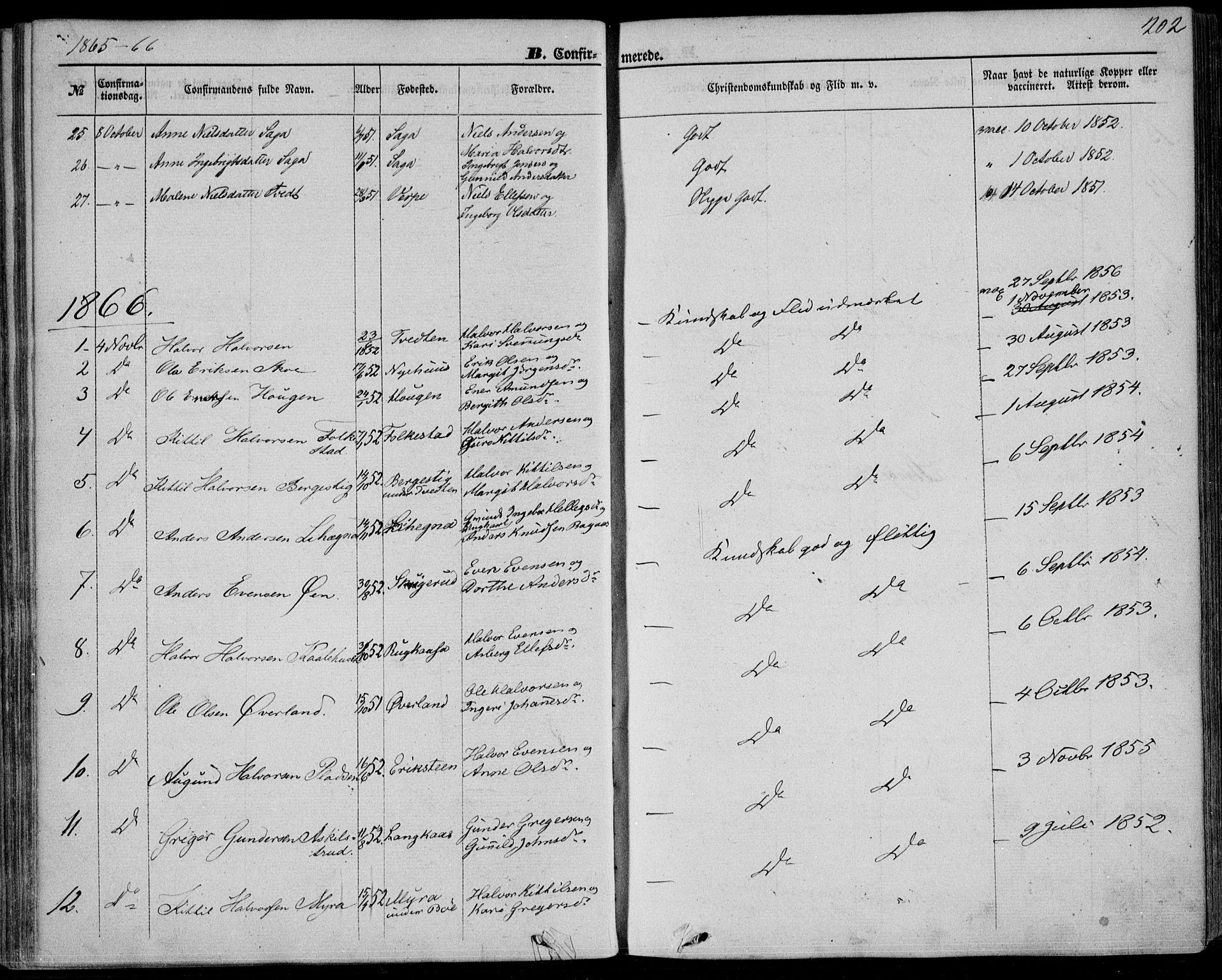 SAKO, Bø kirkebøker, F/Fa/L0009: Ministerialbok nr. 9, 1862-1879, s. 202