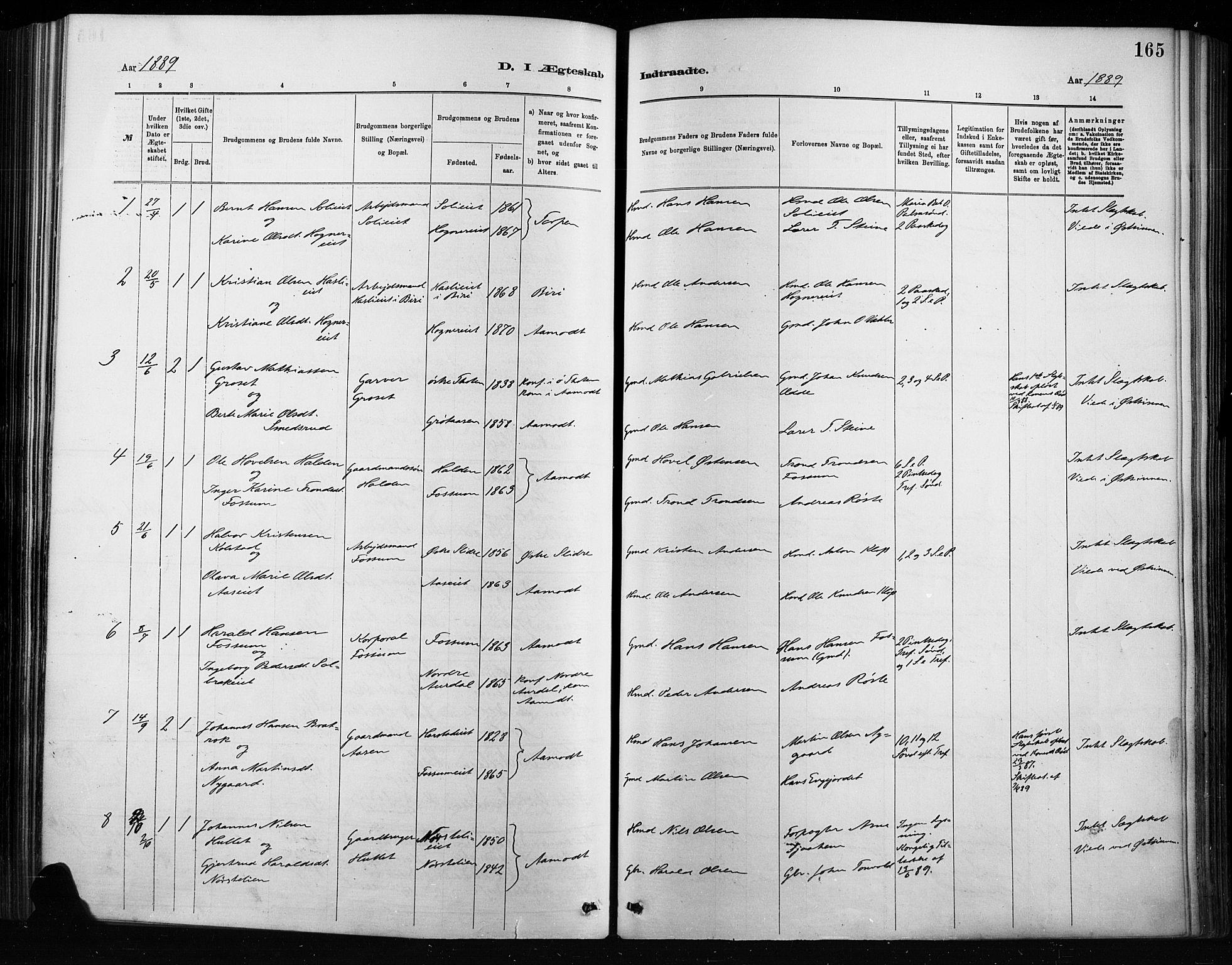 SAH, Nordre Land prestekontor, Ministerialbok nr. 4, 1882-1896, s. 165
