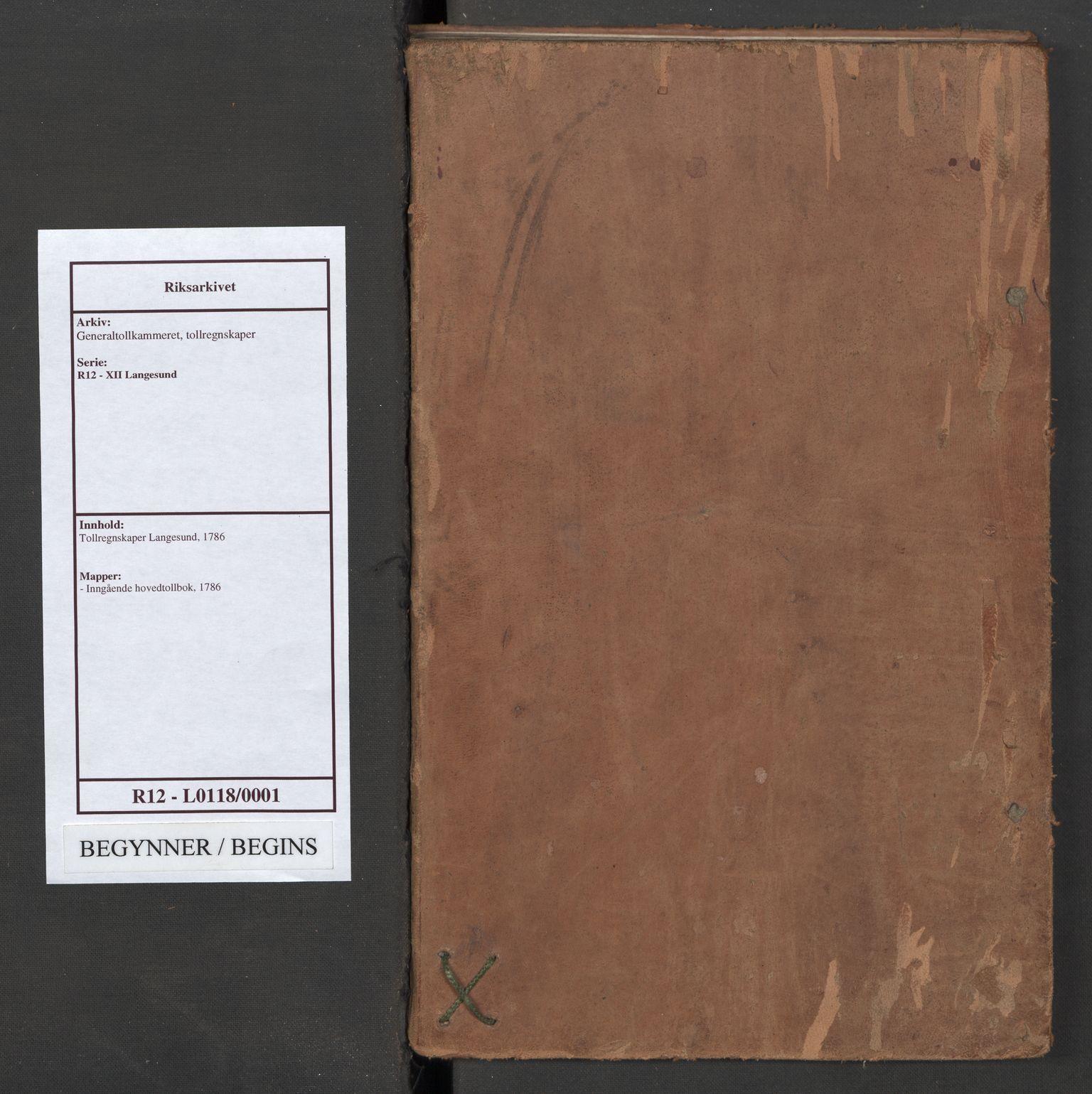 RA, Generaltollkammeret, tollregnskaper, R12/L0118: Tollregnskaper Langesund, 1786