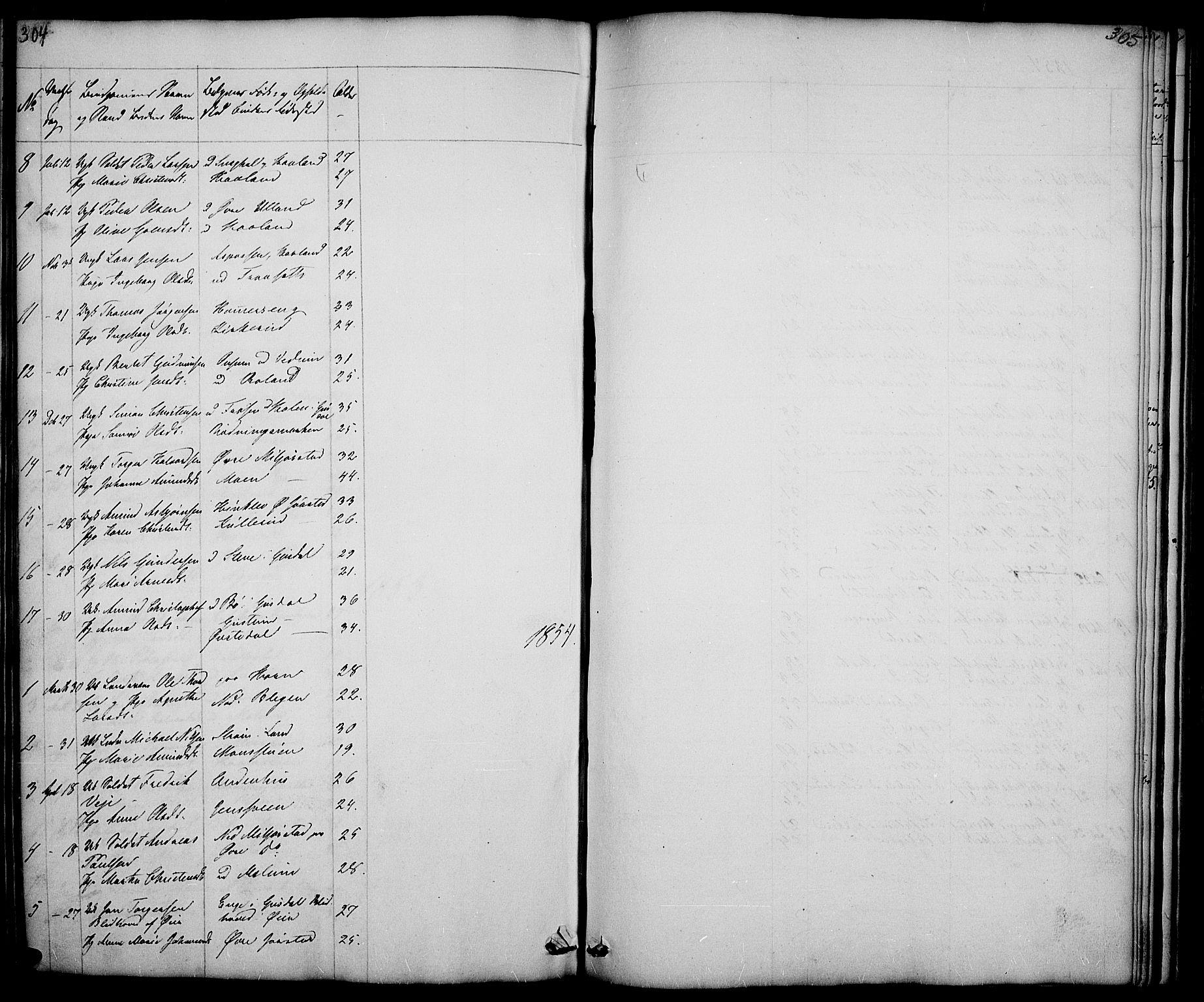 SAH, Fåberg prestekontor, Klokkerbok nr. 5, 1837-1864, s. 304-305