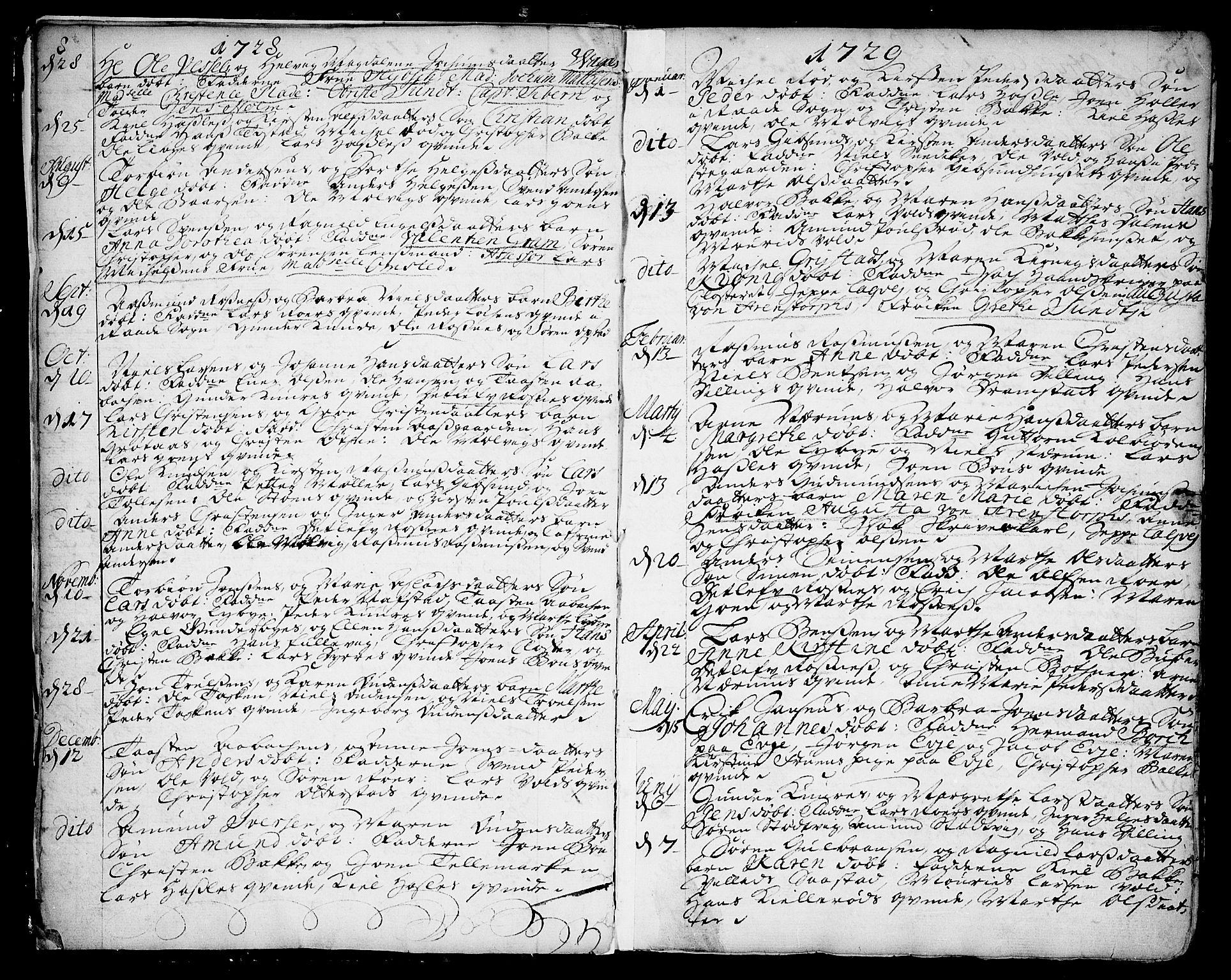 SAO, Rygge prestekontor Kirkebøker, F/Fa/L0001: Ministerialbok nr. 1, 1725-1771, s. 8-9