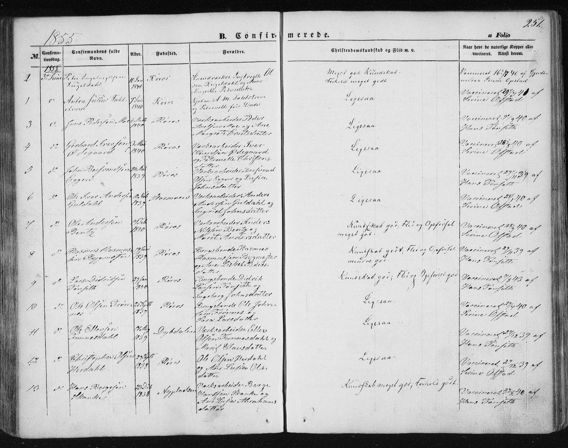 SAT, Ministerialprotokoller, klokkerbøker og fødselsregistre - Sør-Trøndelag, 681/L0931: Ministerialbok nr. 681A09, 1845-1859, s. 251
