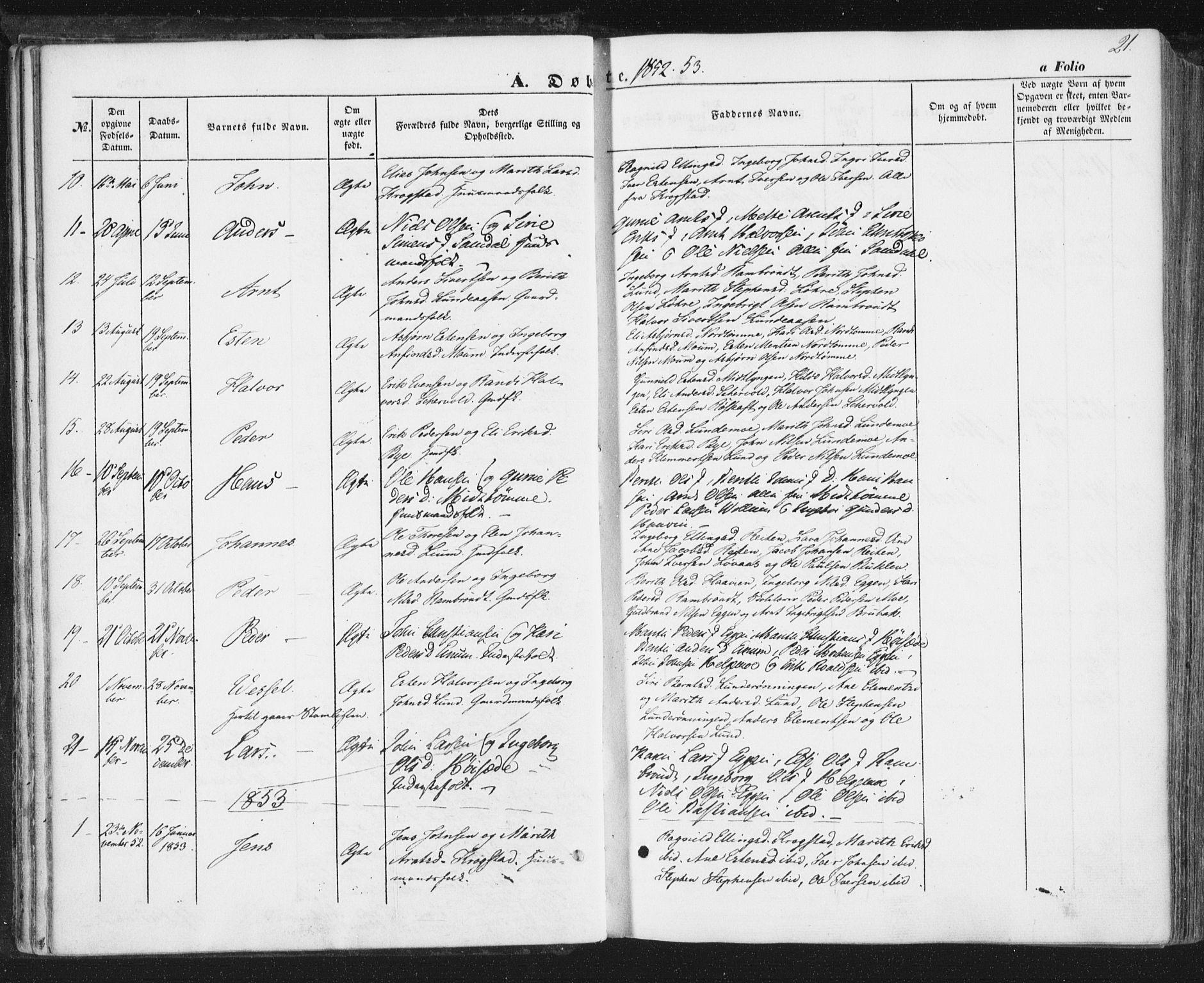SAT, Ministerialprotokoller, klokkerbøker og fødselsregistre - Sør-Trøndelag, 692/L1103: Ministerialbok nr. 692A03, 1849-1870, s. 21