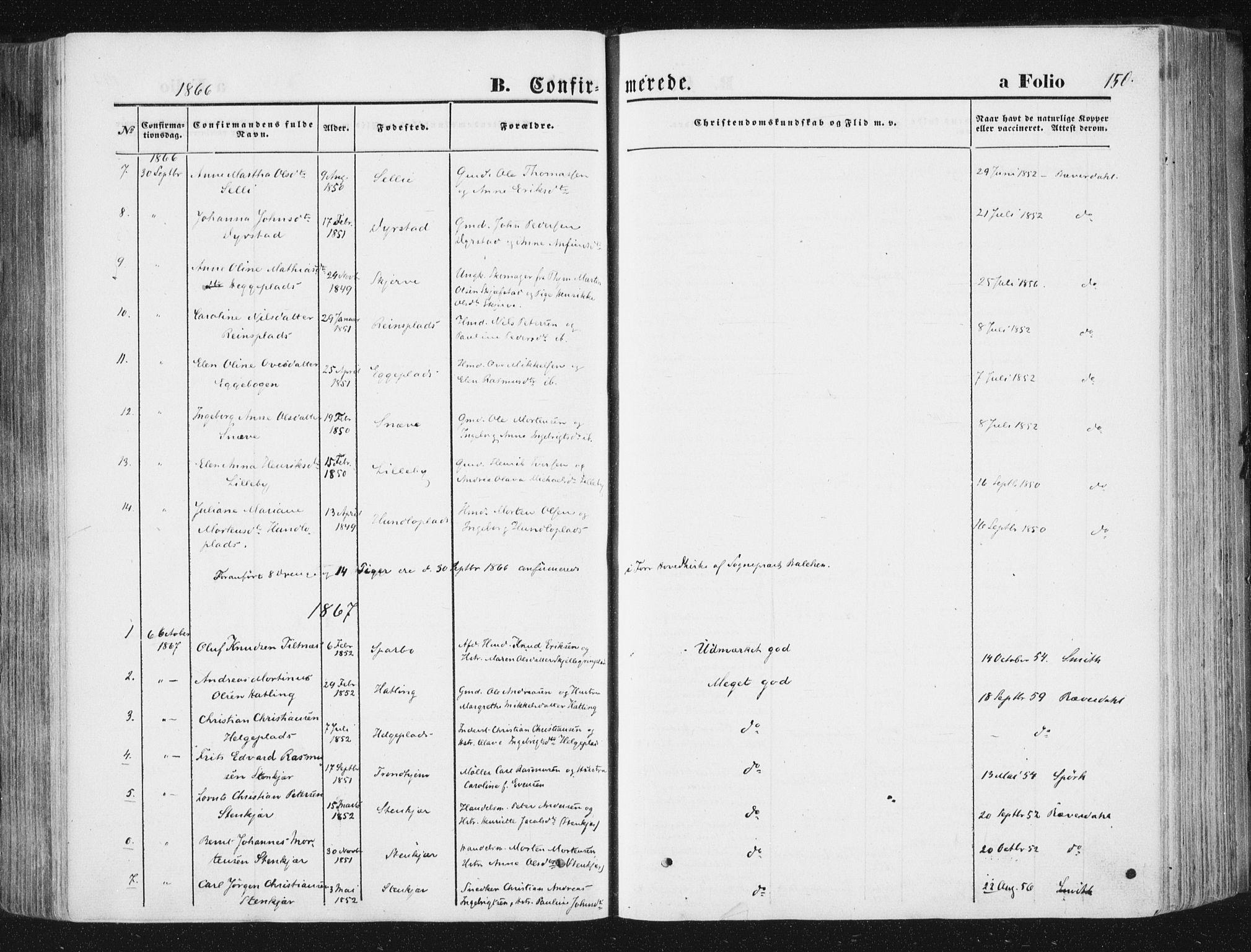 SAT, Ministerialprotokoller, klokkerbøker og fødselsregistre - Nord-Trøndelag, 746/L0447: Ministerialbok nr. 746A06, 1860-1877, s. 150