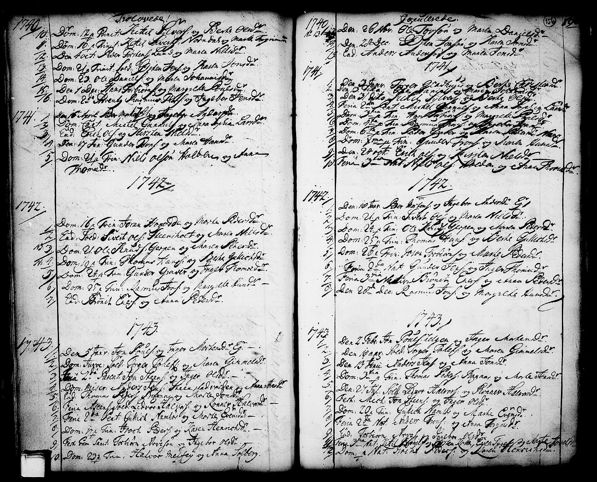 SAKO, Holla kirkebøker, F/Fa/L0001: Ministerialbok nr. 1, 1717-1779, s. 156
