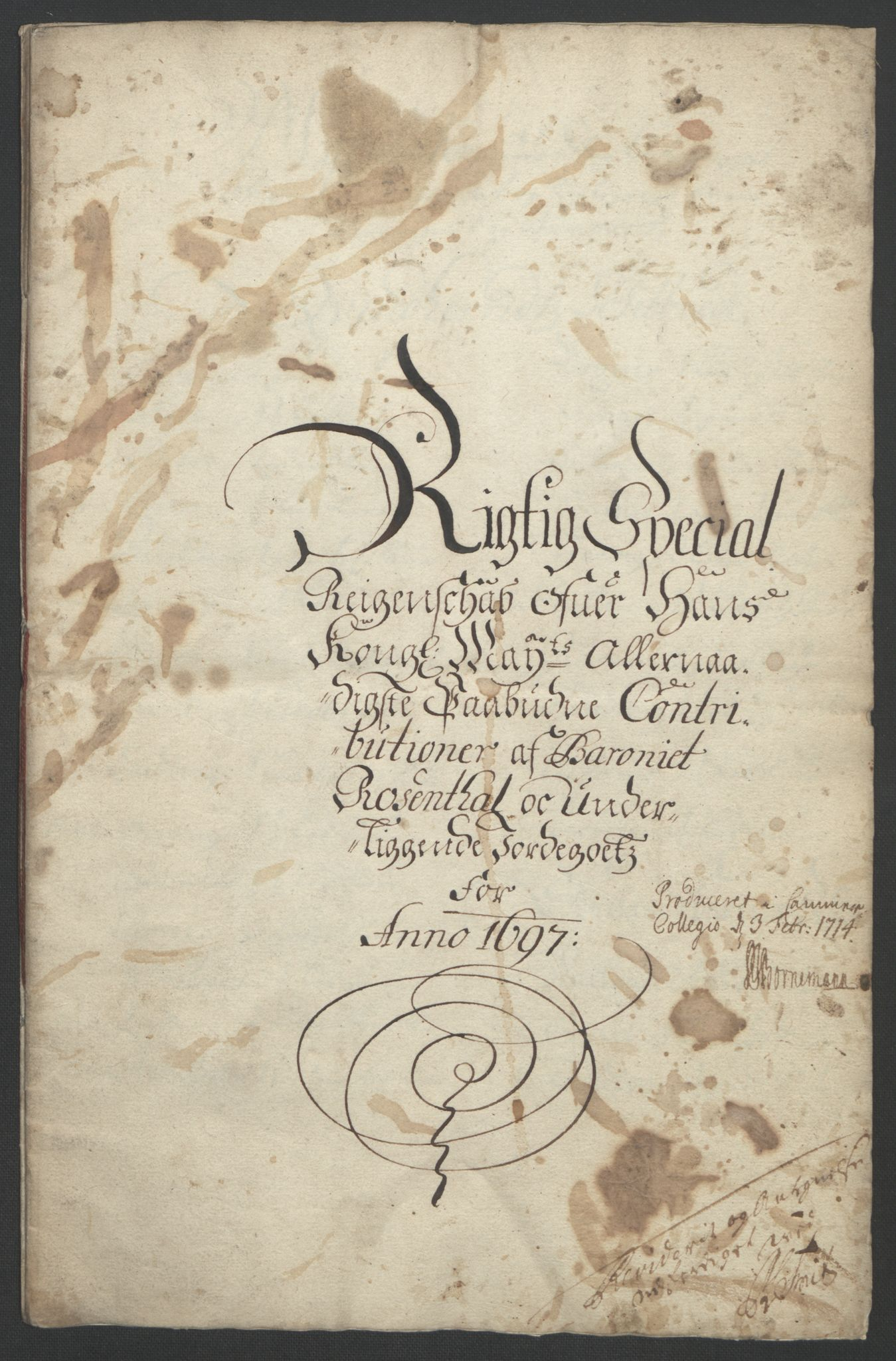 RA, Rentekammeret inntil 1814, Reviderte regnskaper, Fogderegnskap, R49/L3138: Fogderegnskap Rosendal Baroni, 1691-1714, s. 55