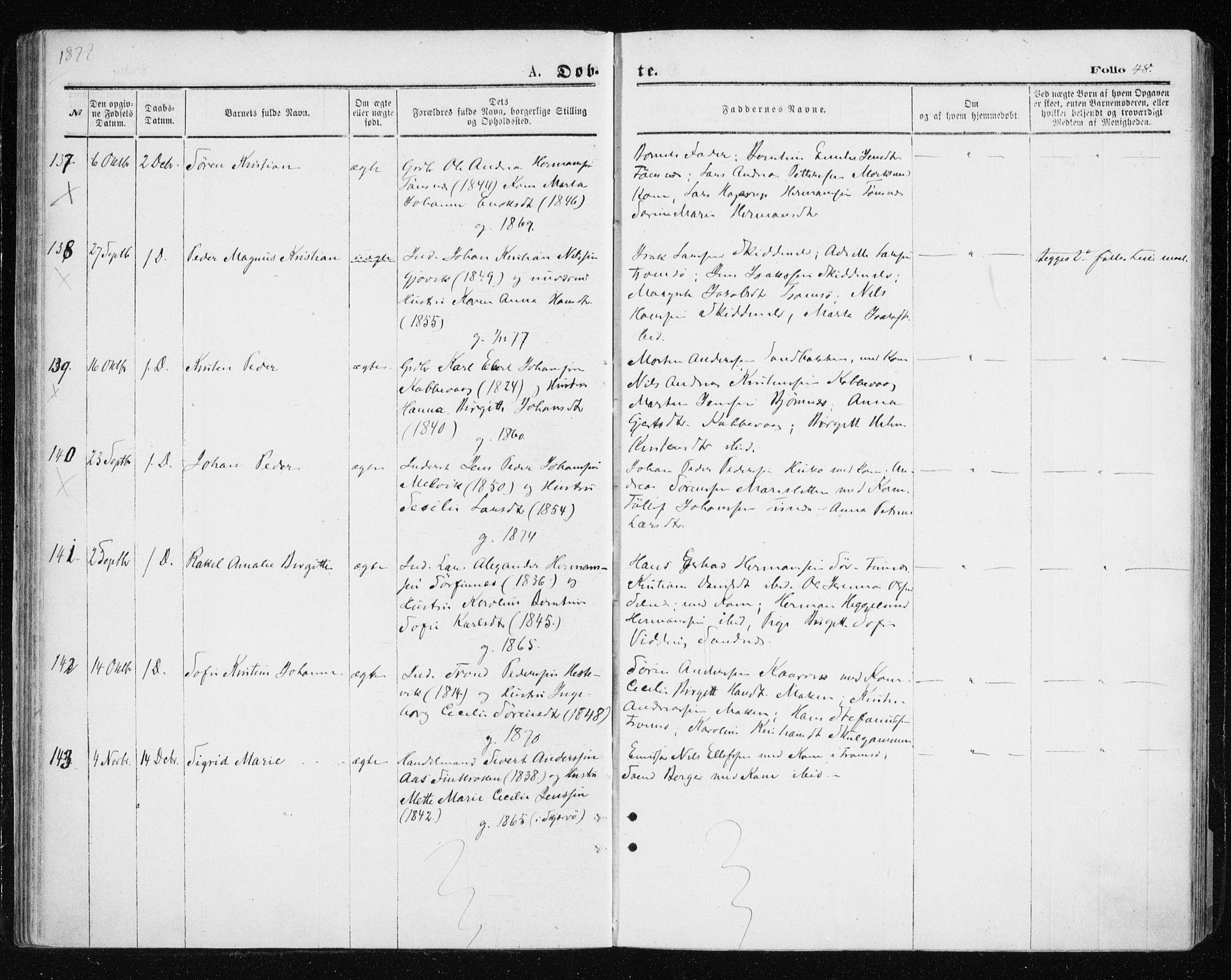 SATØ, Tromsøysund sokneprestkontor, G/Ga/L0003kirke: Ministerialbok nr. 3, 1875-1880, s. 48