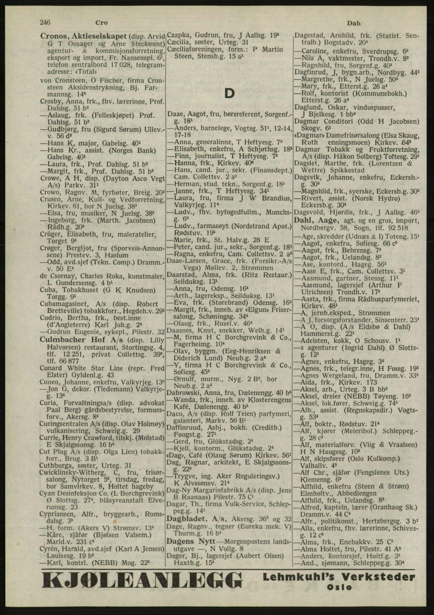 RA, Oslo adressebok (publikasjon)*, 1945, s. 246