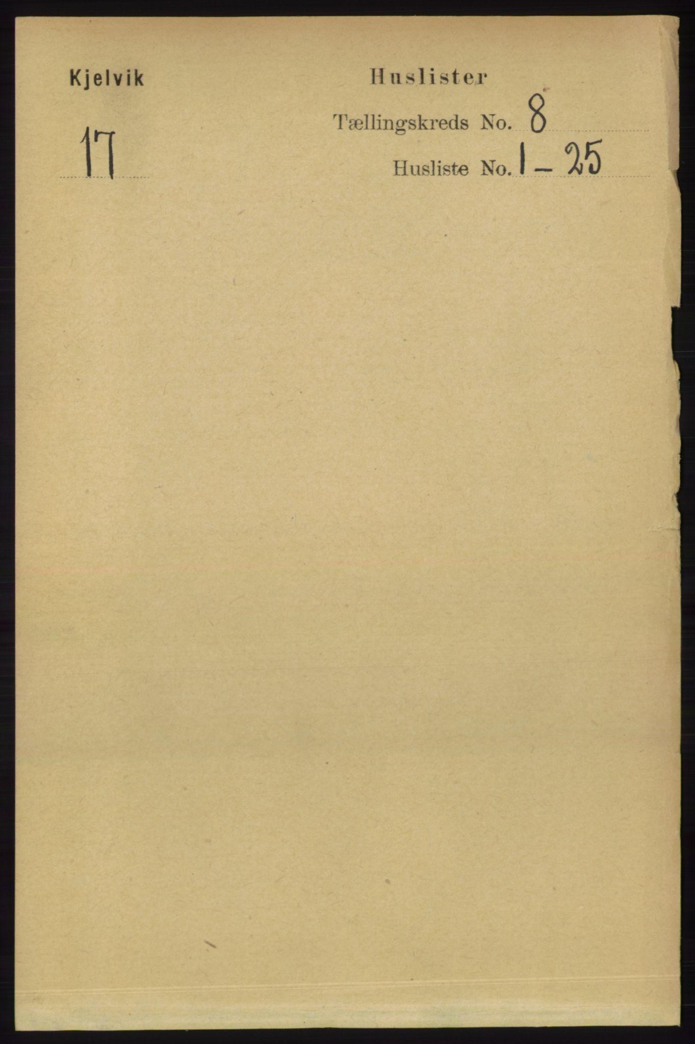 RA, Folketelling 1891 for 2019 Kjelvik herred, 1891, s. 1147