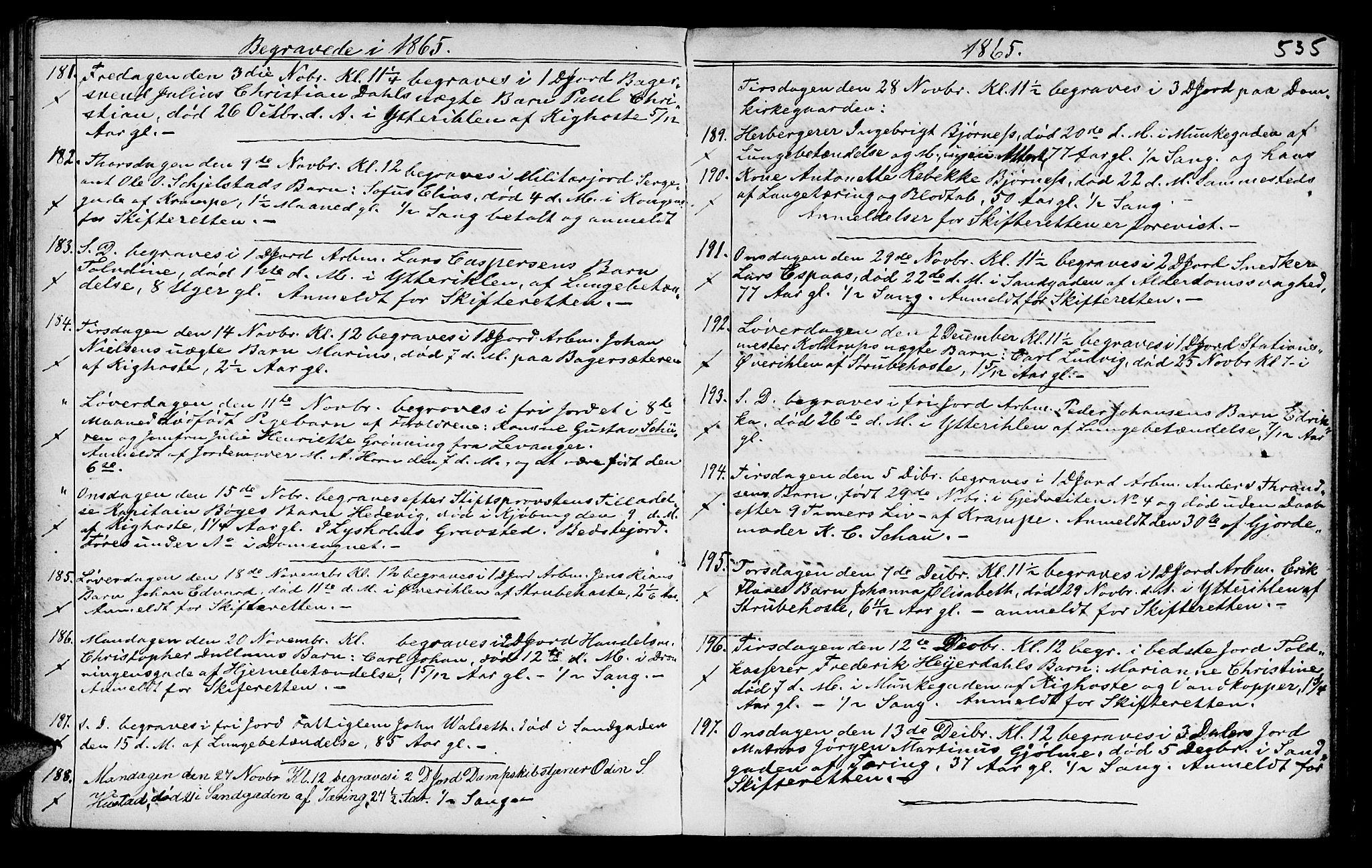 SAT, Ministerialprotokoller, klokkerbøker og fødselsregistre - Sør-Trøndelag, 602/L0140: Klokkerbok nr. 602C08, 1864-1872, s. 534-535