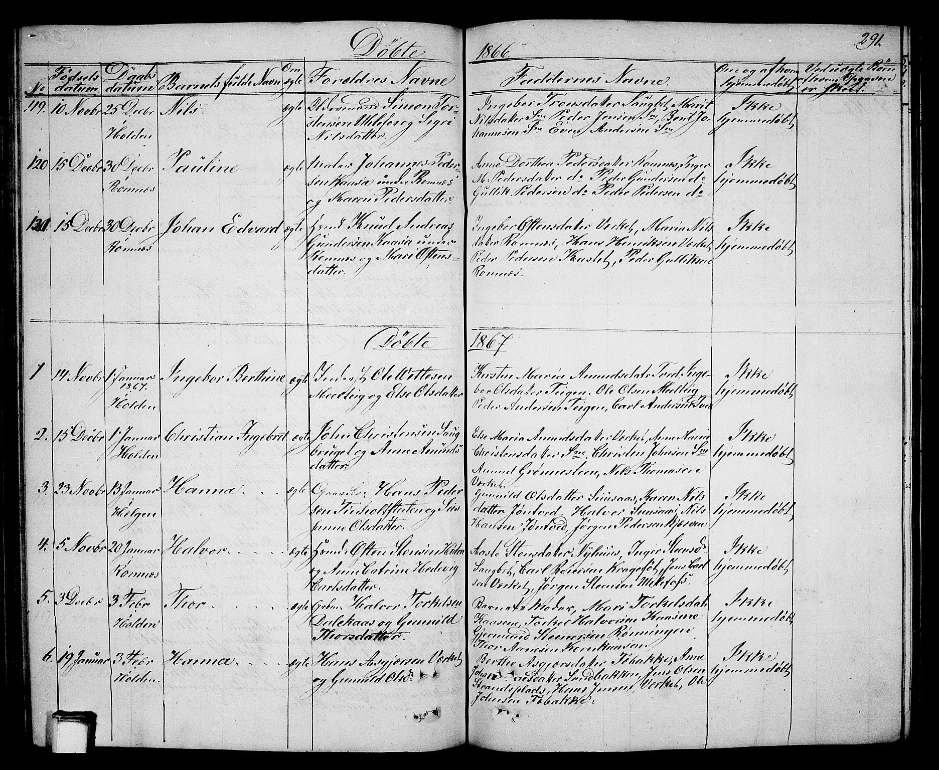 SAKO, Holla kirkebøker, G/Ga/L0003: Klokkerbok nr. I 3, 1849-1866, s. 291