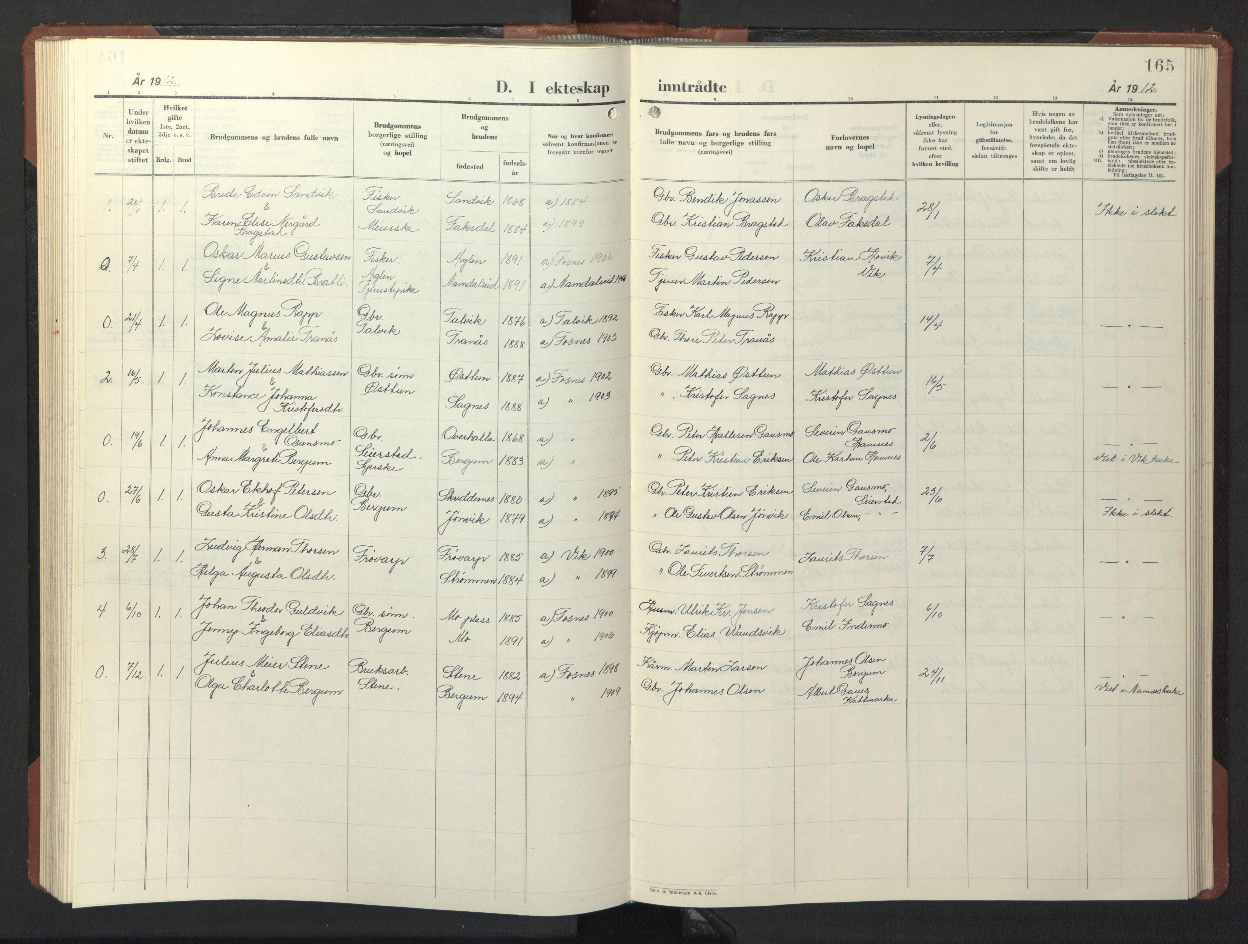SAT, Ministerialprotokoller, klokkerbøker og fødselsregistre - Nord-Trøndelag, 773/L0625: Klokkerbok nr. 773C01, 1910-1952, s. 165