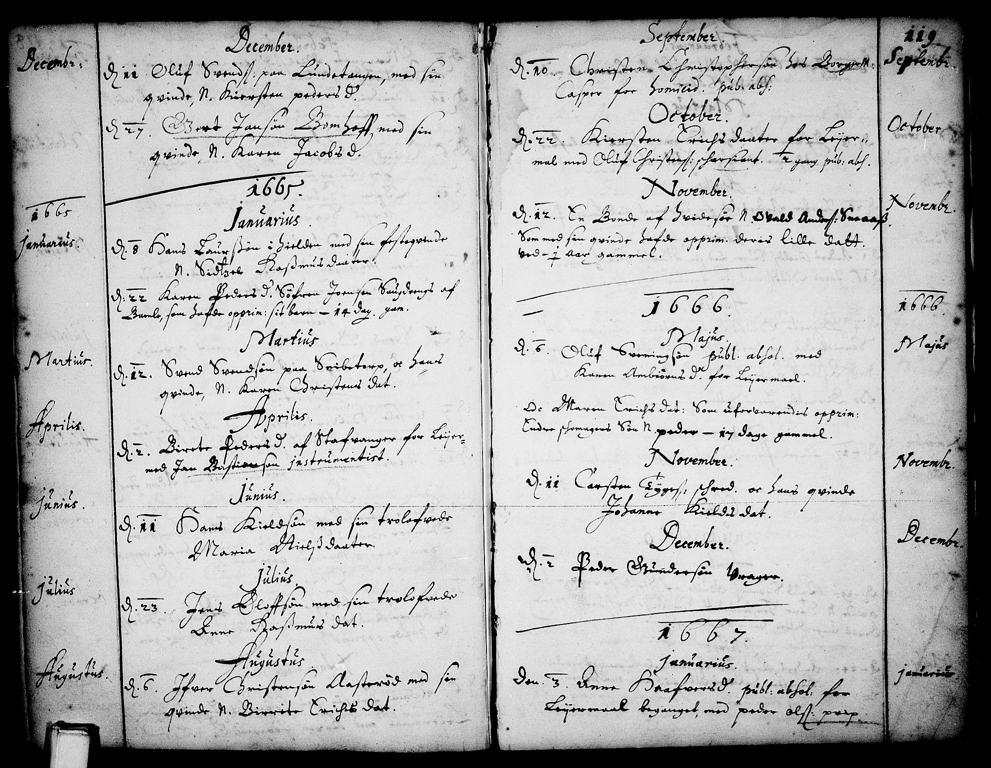 SAKO, Skien kirkebøker, F/Fa/L0001: Ministerialbok nr. 1, 1659-1679, s. 119