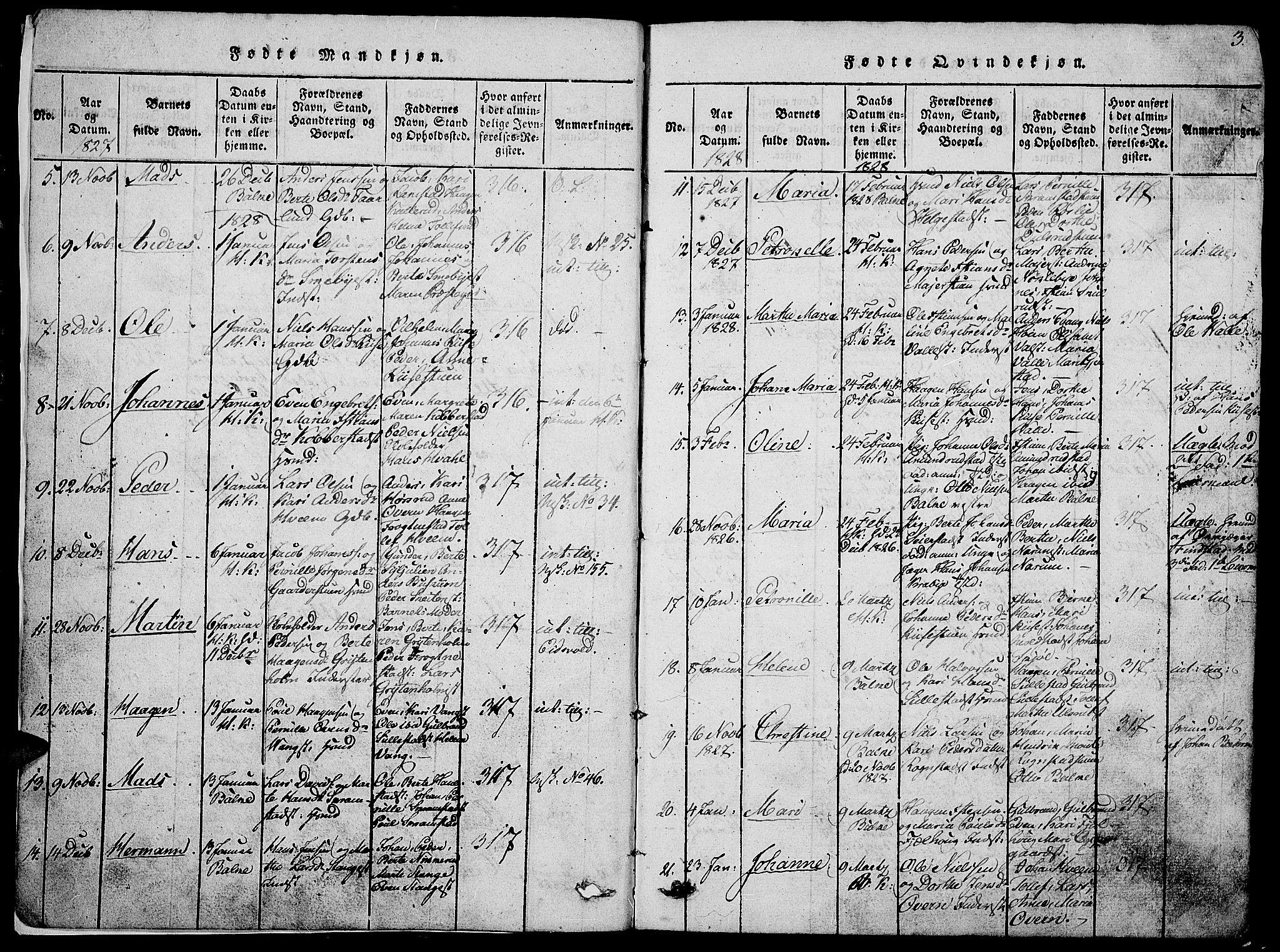 SAH, Østre Toten prestekontor, Klokkerbok nr. 1, 1827-1839, s. 3