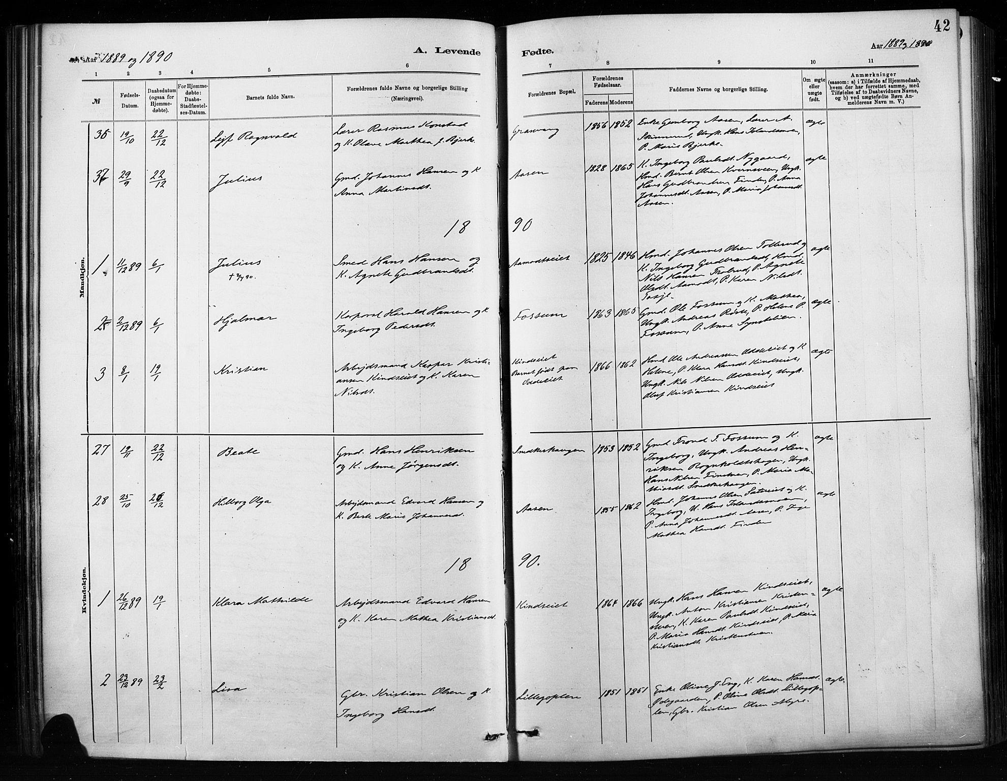 SAH, Nordre Land prestekontor, Ministerialbok nr. 4, 1882-1896, s. 42