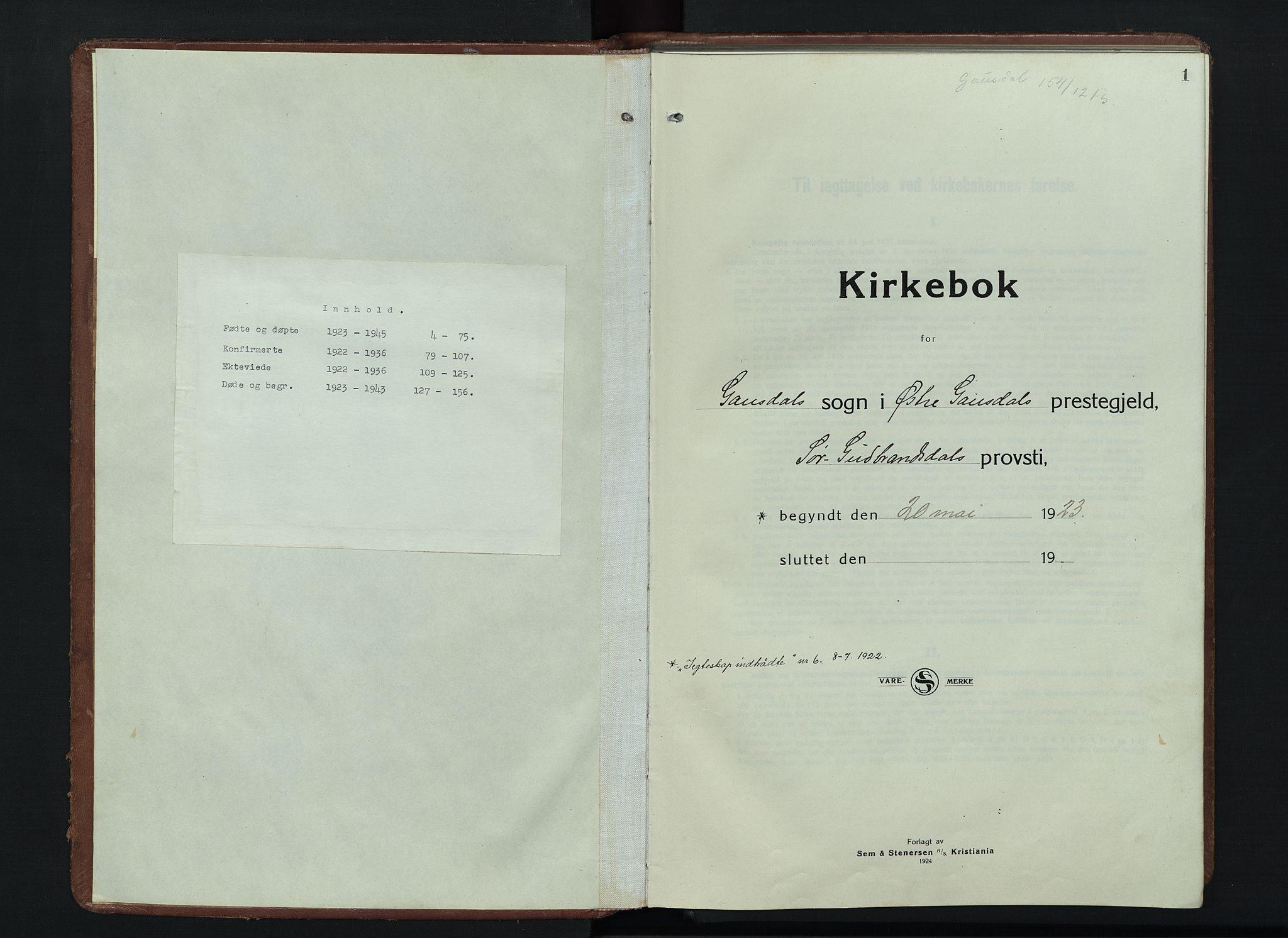 SAH, Østre Gausdal prestekontor, Klokkerbok nr. 6, 1922-1945, s. 1