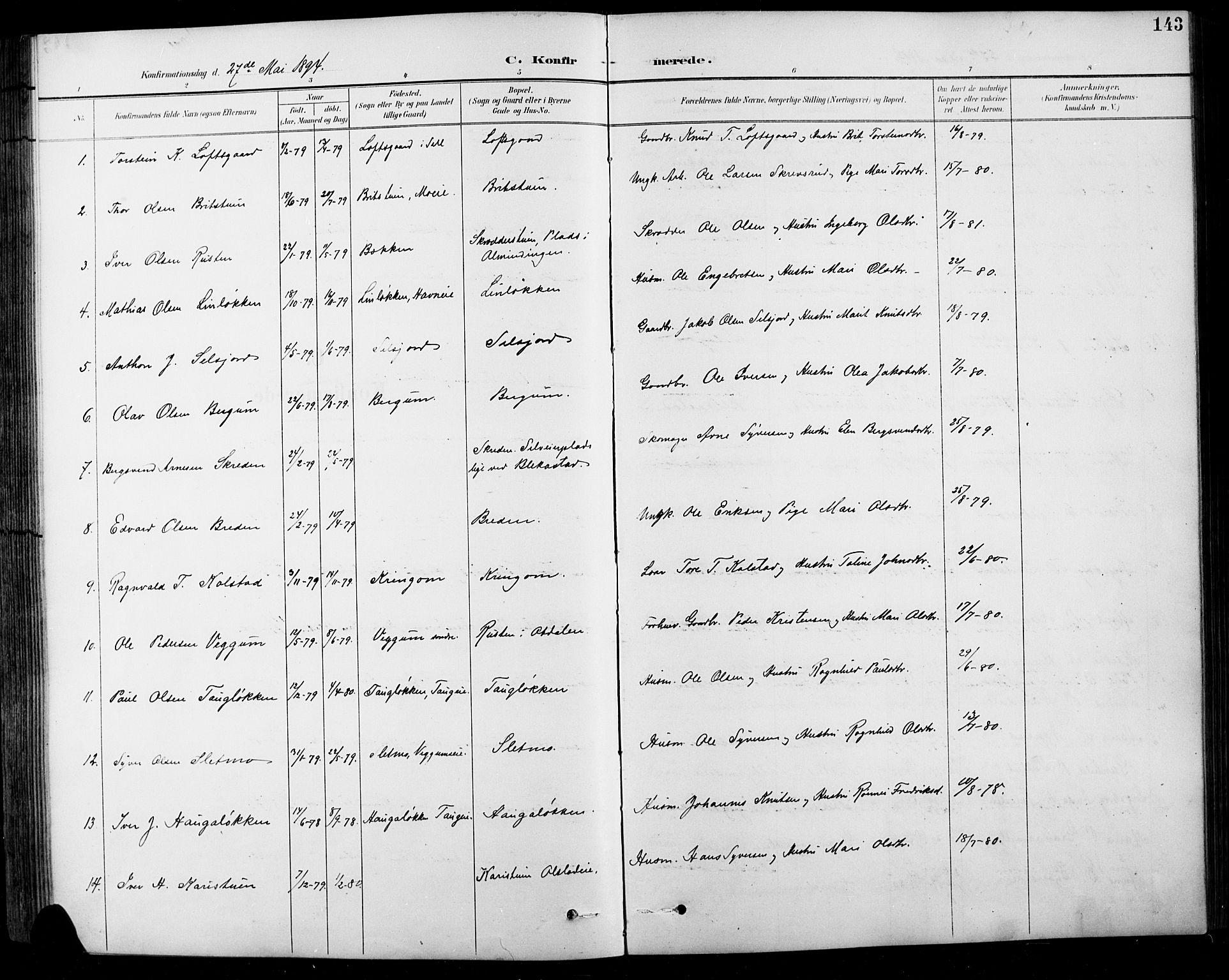 SAH, Sel prestekontor, Klokkerbok nr. 1, 1894-1923, s. 143