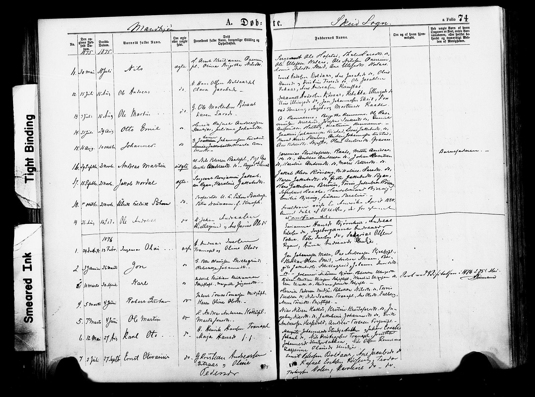 SAT, Ministerialprotokoller, klokkerbøker og fødselsregistre - Nord-Trøndelag, 735/L0348: Ministerialbok nr. 735A09 /2, 1873-1883, s. 74