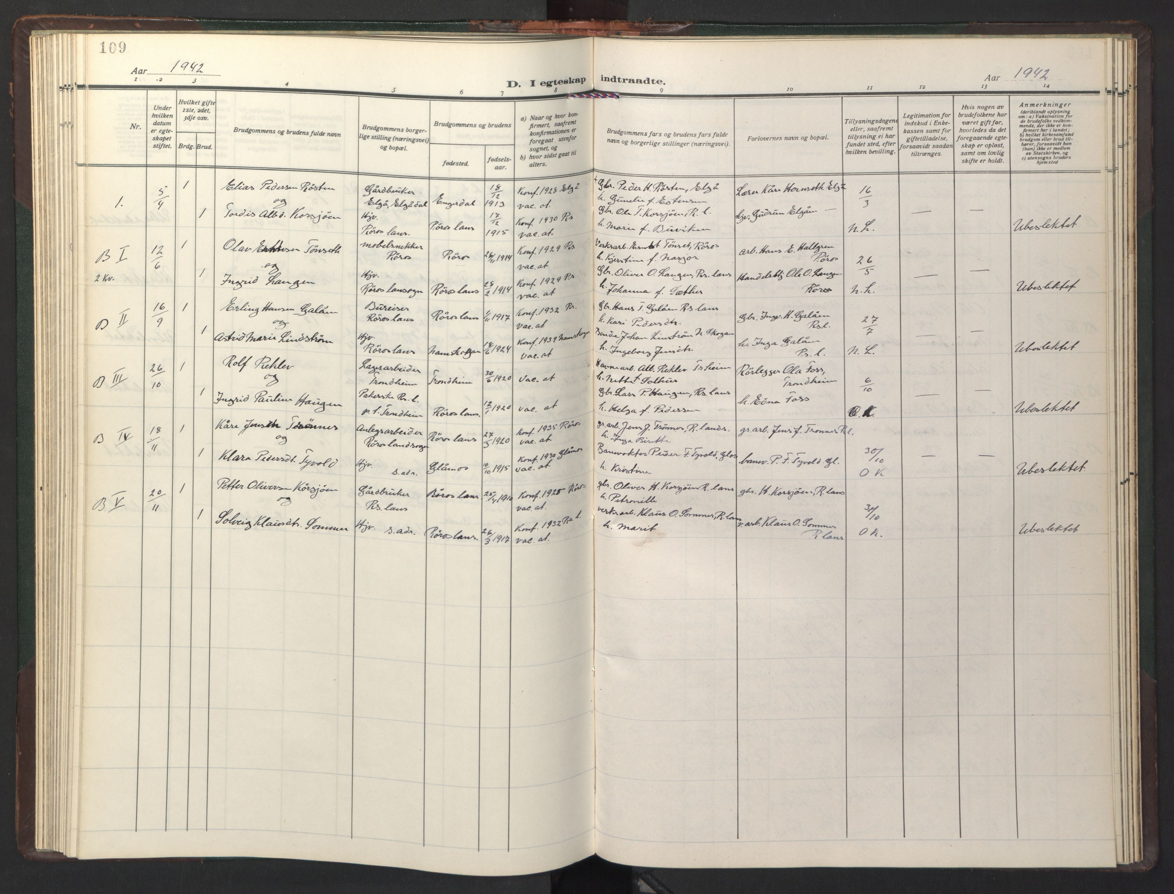 SAT, Ministerialprotokoller, klokkerbøker og fødselsregistre - Sør-Trøndelag, 681/L0944: Klokkerbok nr. 681C08, 1926-1954, s. 109