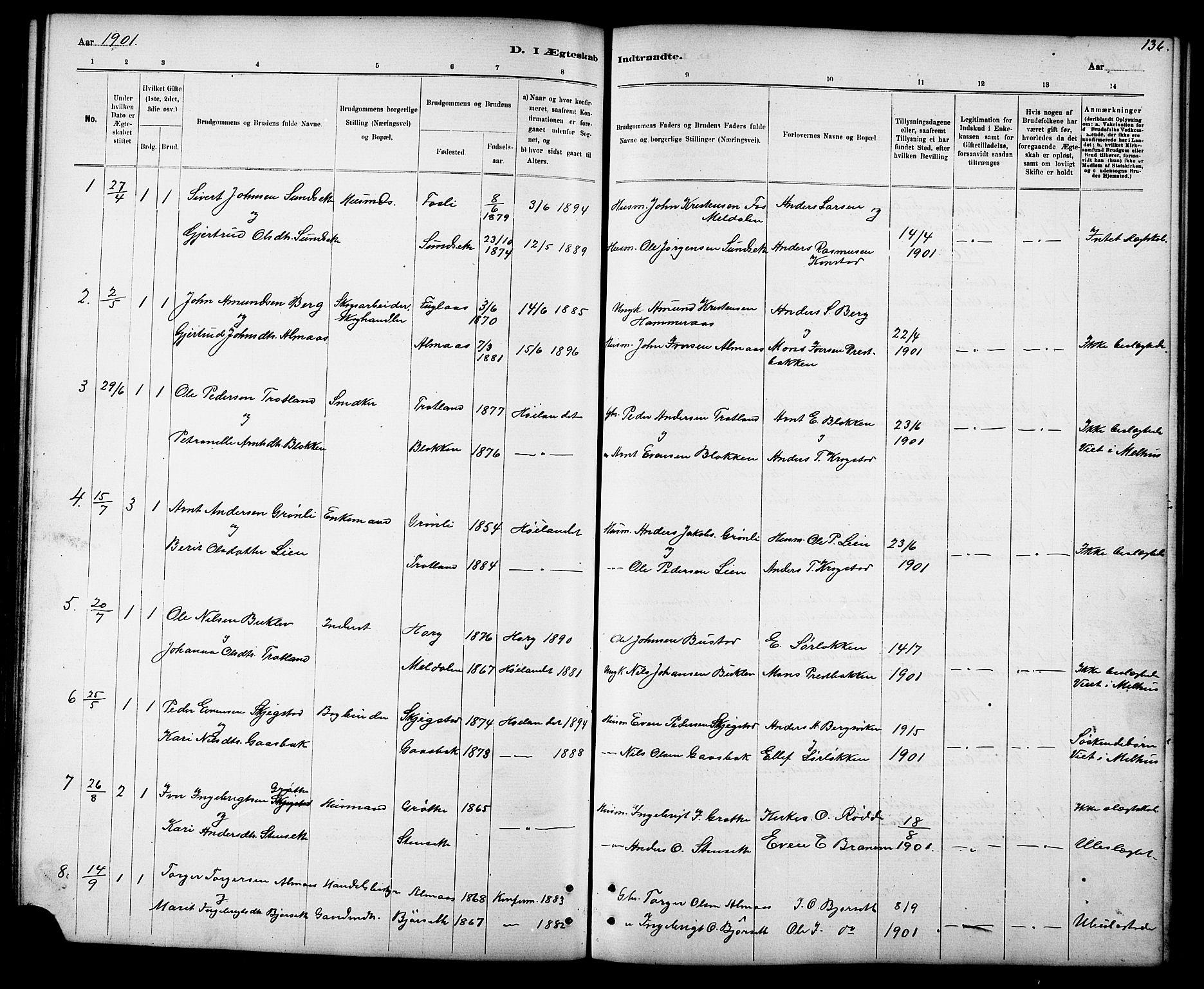 SAT, Ministerialprotokoller, klokkerbøker og fødselsregistre - Sør-Trøndelag, 694/L1132: Klokkerbok nr. 694C04, 1887-1914, s. 136