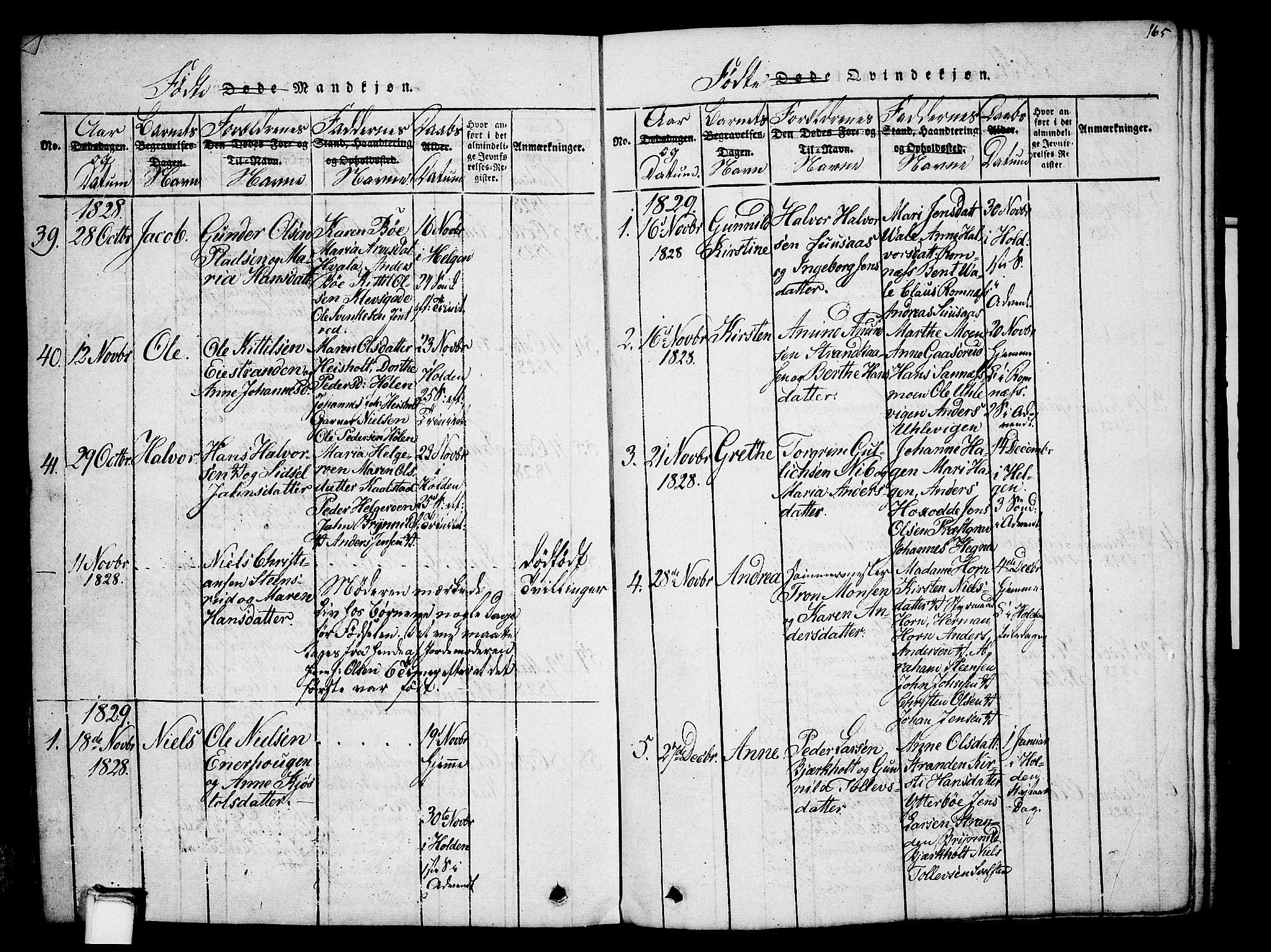SAKO, Holla kirkebøker, G/Ga/L0001: Klokkerbok nr. I 1, 1814-1830, s. 165
