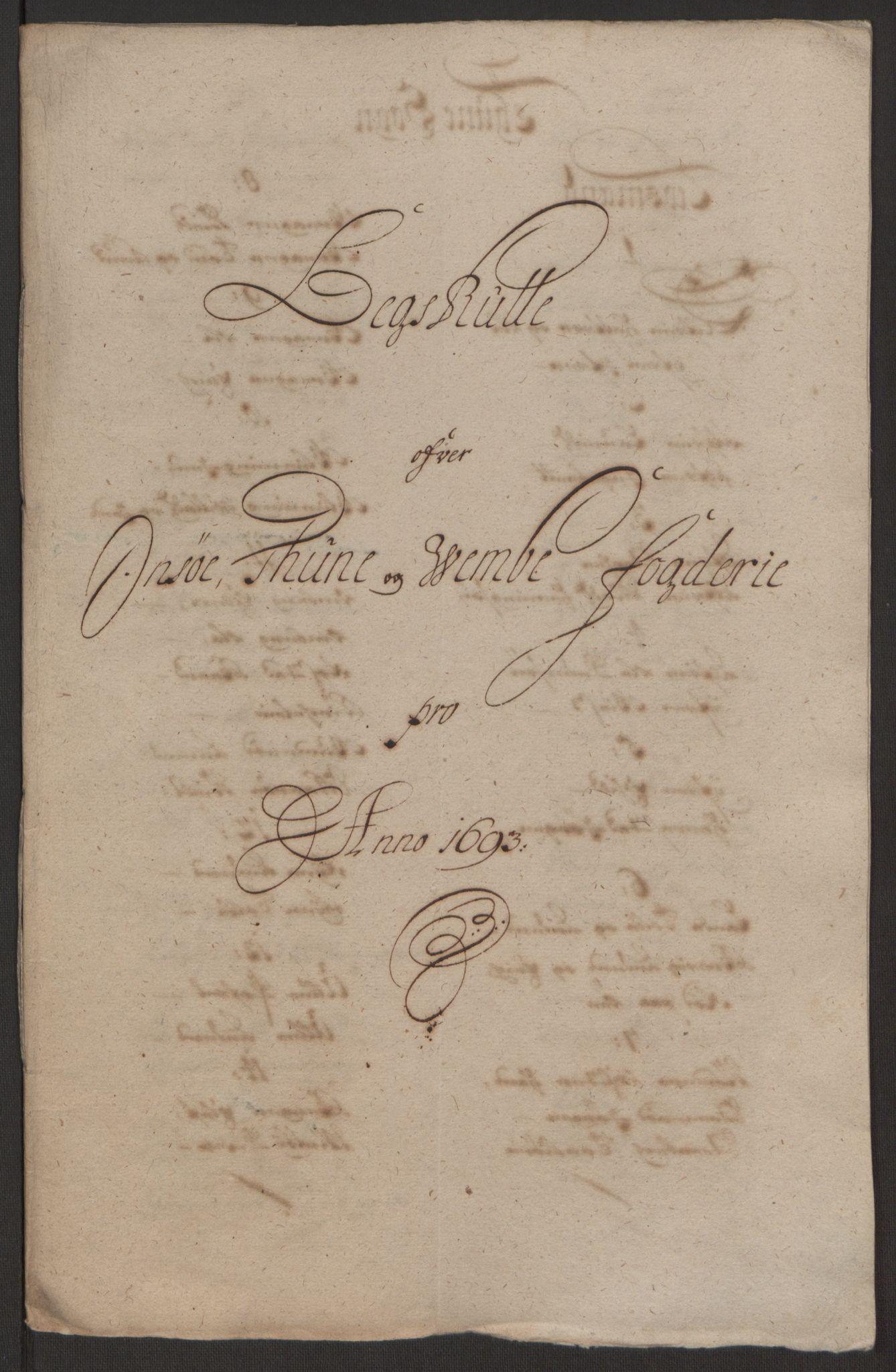 RA, Rentekammeret inntil 1814, Reviderte regnskaper, Fogderegnskap, R03/L0120: Fogderegnskap Onsøy, Tune, Veme og Åbygge fogderi, 1692-1693, s. 361
