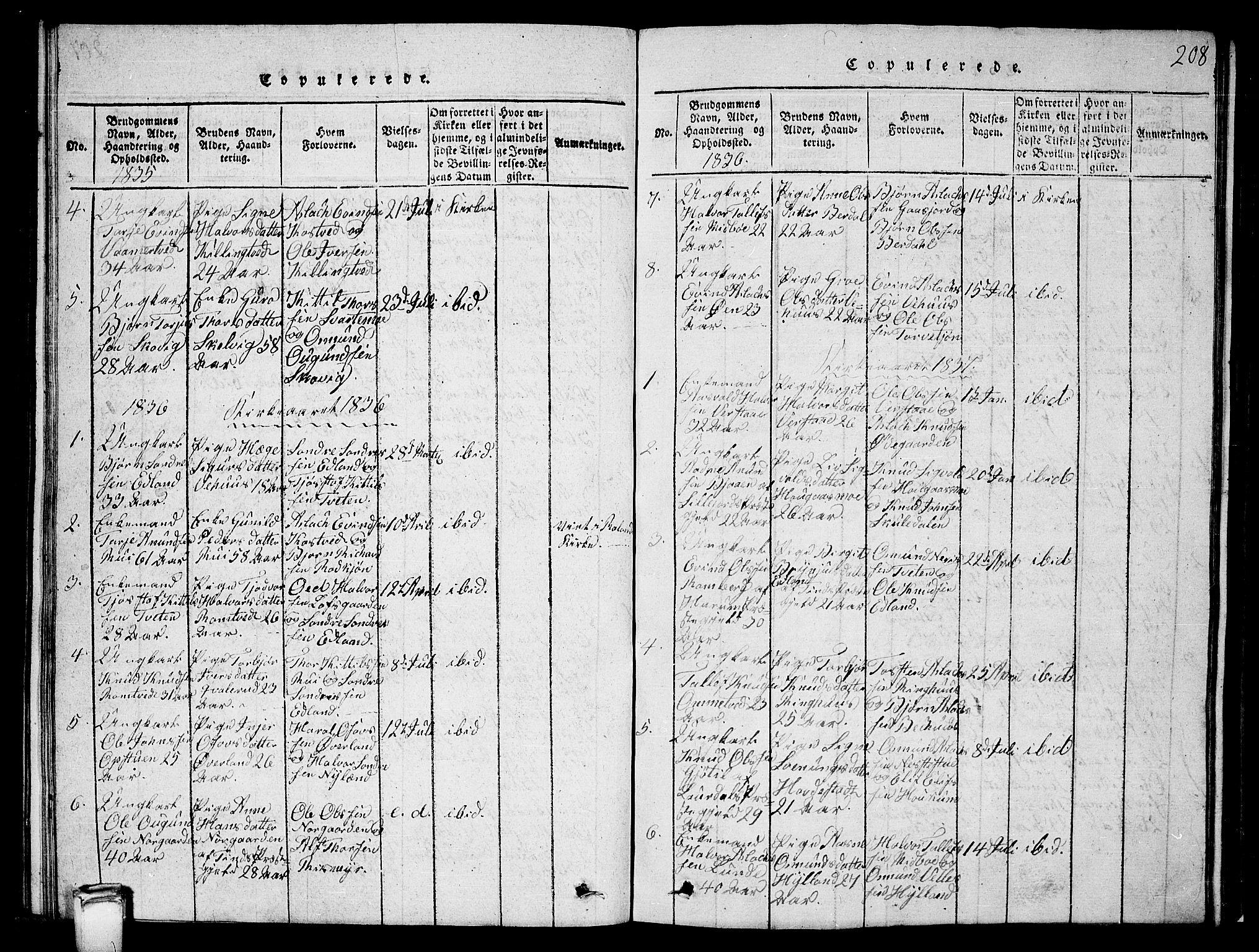 SAKO, Vinje kirkebøker, G/Ga/L0001: Klokkerbok nr. I 1, 1814-1843, s. 208