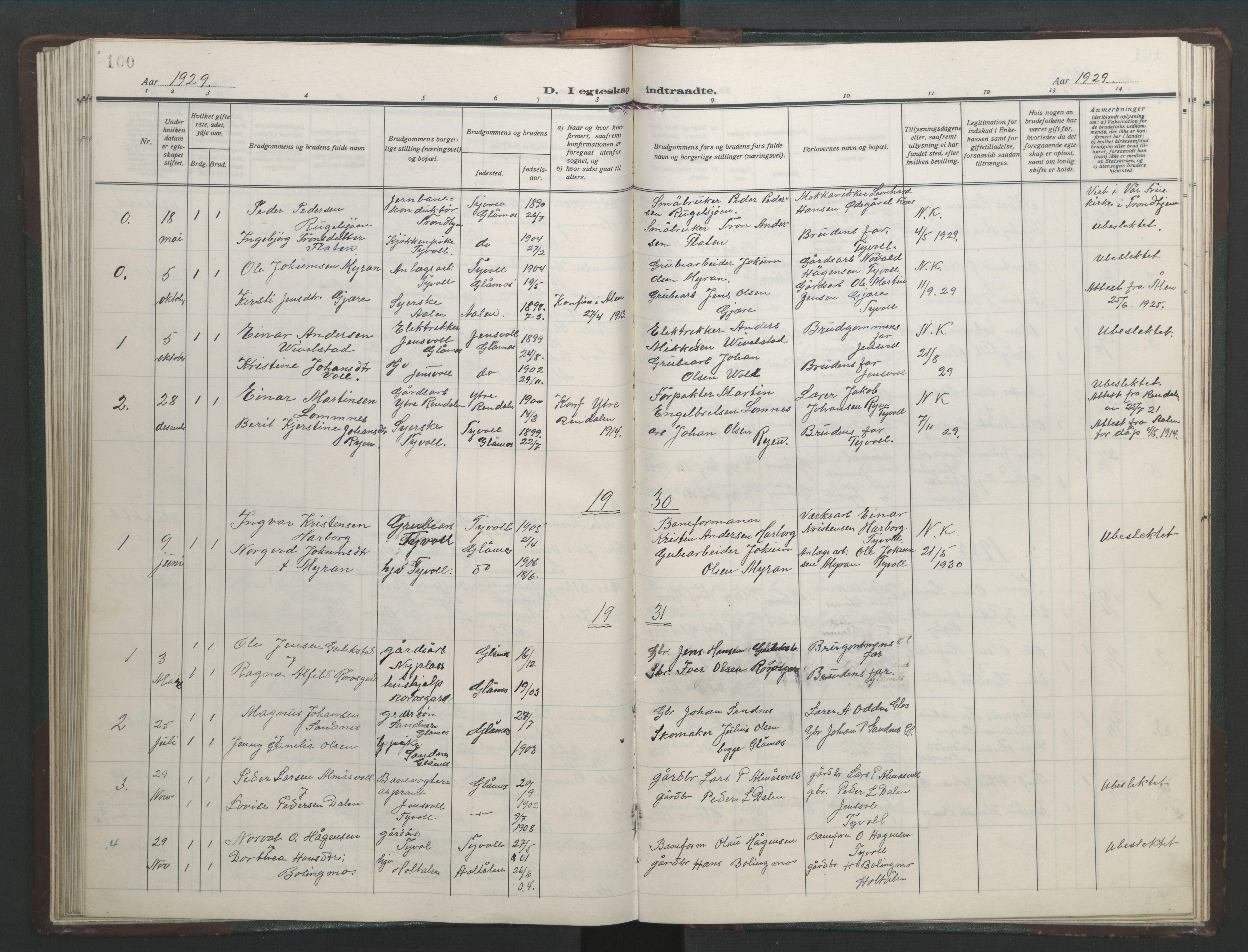 SAT, Ministerialprotokoller, klokkerbøker og fødselsregistre - Sør-Trøndelag, 682/L0947: Klokkerbok nr. 682C01, 1926-1968, s. 100