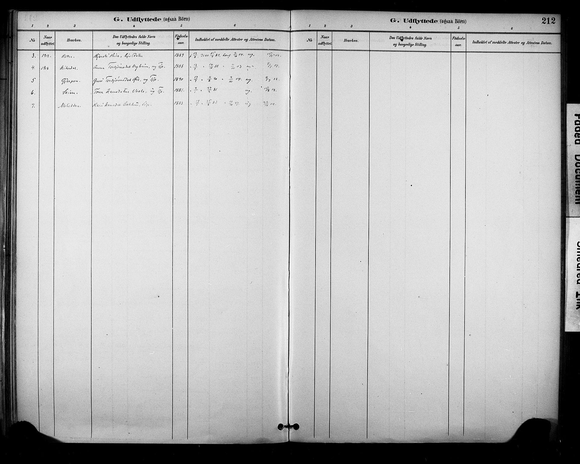 SAKO, Sauherad kirkebøker, F/Fa/L0009: Ministerialbok nr. I 9, 1887-1912, s. 212