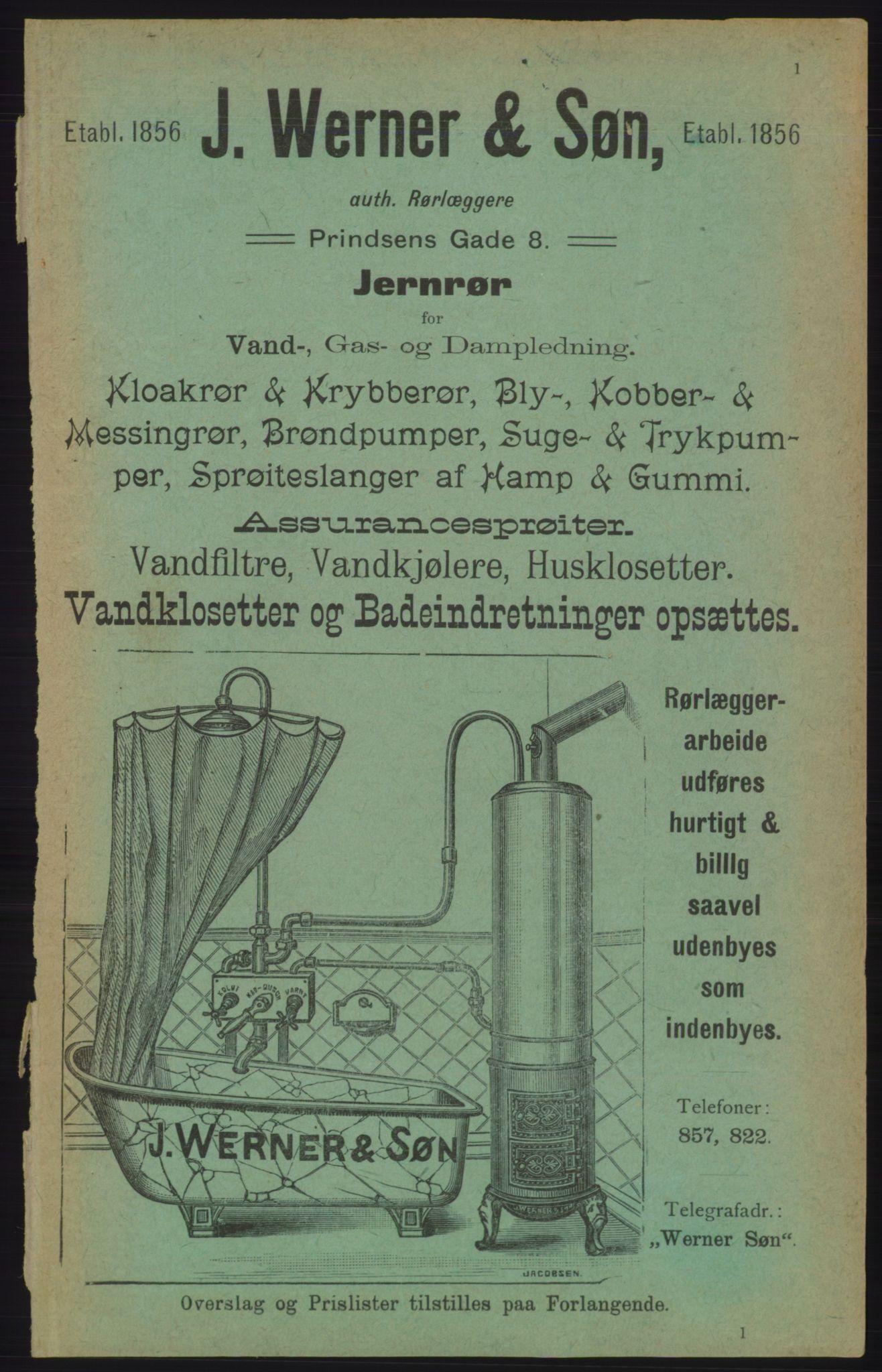 RA, Kristiania adressebok (publikasjon)*, 1906, s. 1