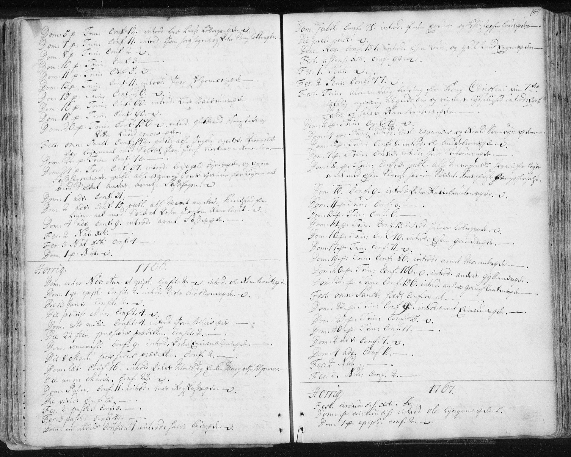 SAT, Ministerialprotokoller, klokkerbøker og fødselsregistre - Sør-Trøndelag, 687/L0991: Ministerialbok nr. 687A02, 1747-1790, s. 147