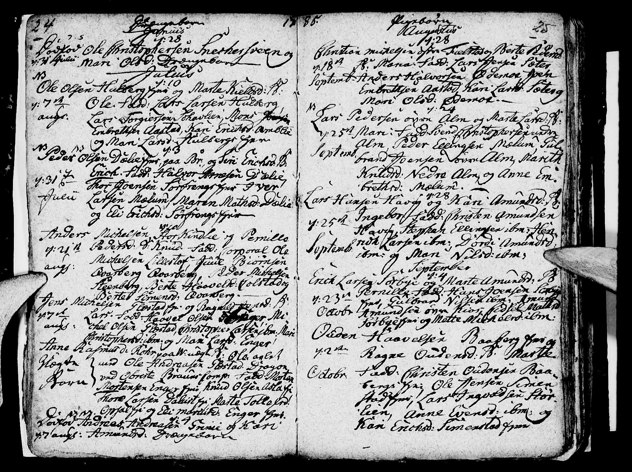 SAH, Ringsaker prestekontor, I/Ia/L0005/0004: Kladd til kirkebok nr. 1D, 1785-1789, s. 24-25