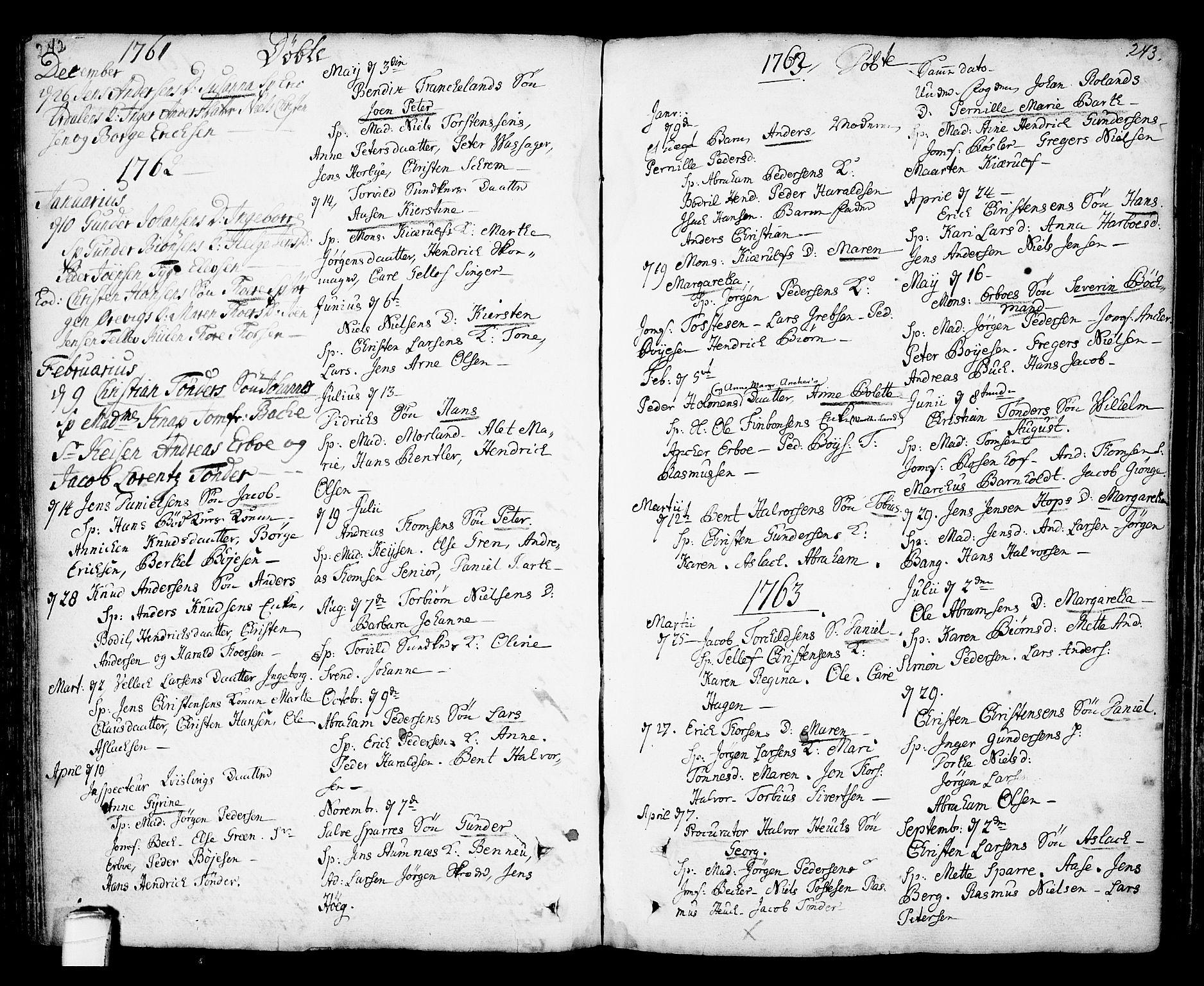 SAKO, Kragerø kirkebøker, F/Fa/L0001: Ministerialbok nr. 1, 1702-1766, s. 242-243