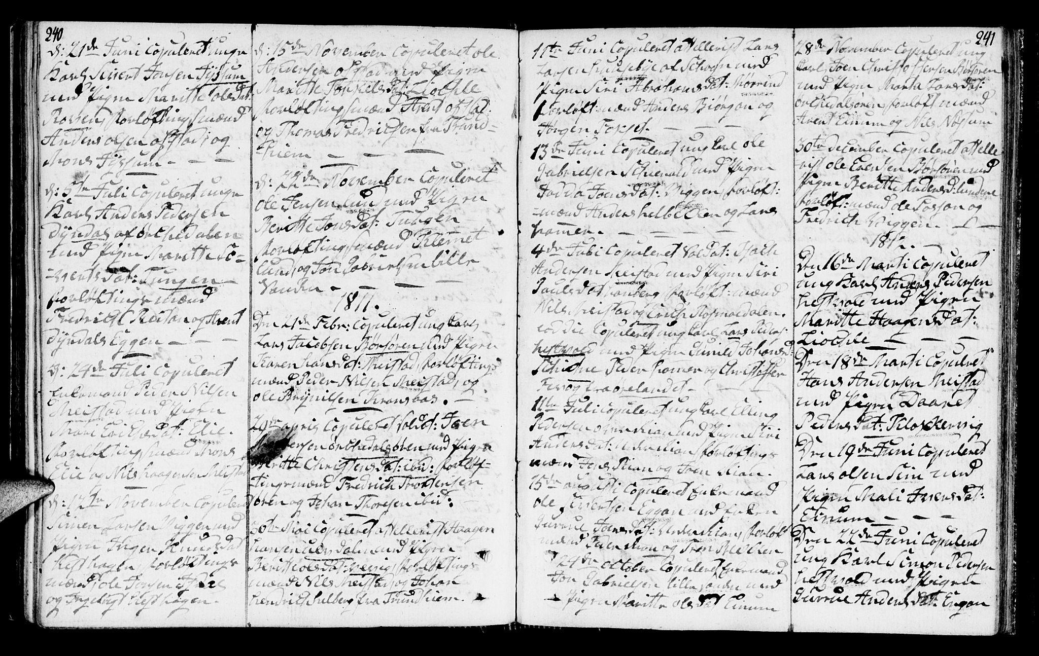 SAT, Ministerialprotokoller, klokkerbøker og fødselsregistre - Sør-Trøndelag, 665/L0769: Ministerialbok nr. 665A04, 1803-1816, s. 240-241