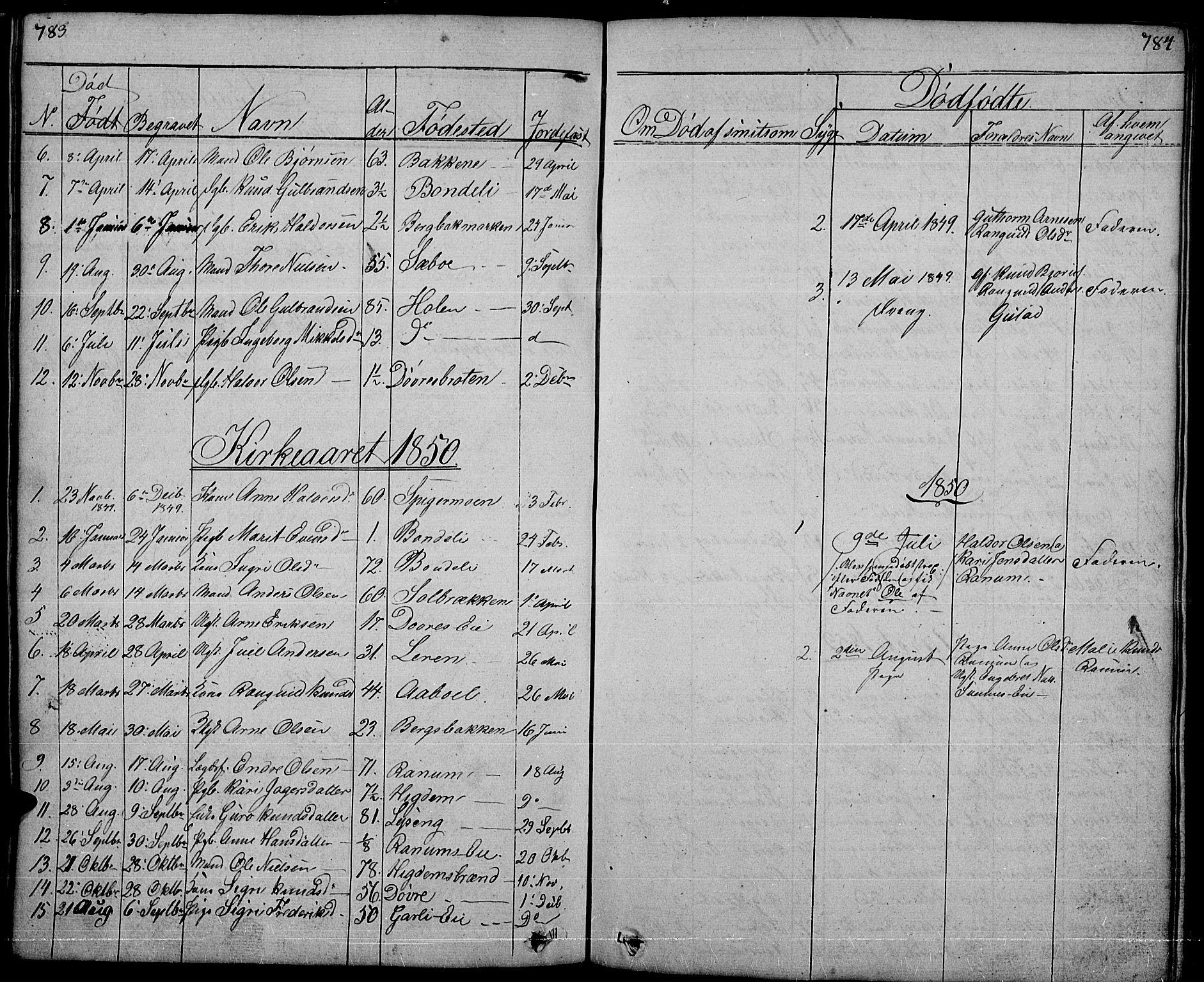 SAH, Nord-Aurdal prestekontor, Klokkerbok nr. 1, 1834-1887, s. 783-784