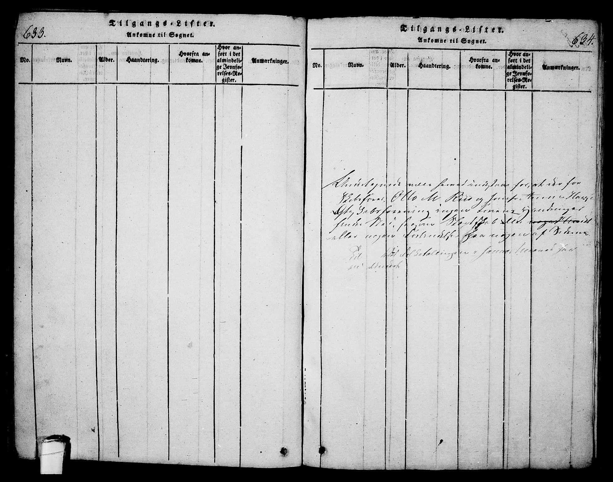 SAKO, Langesund kirkebøker, G/Ga/L0003: Klokkerbok nr. 3, 1815-1858, s. 633-634