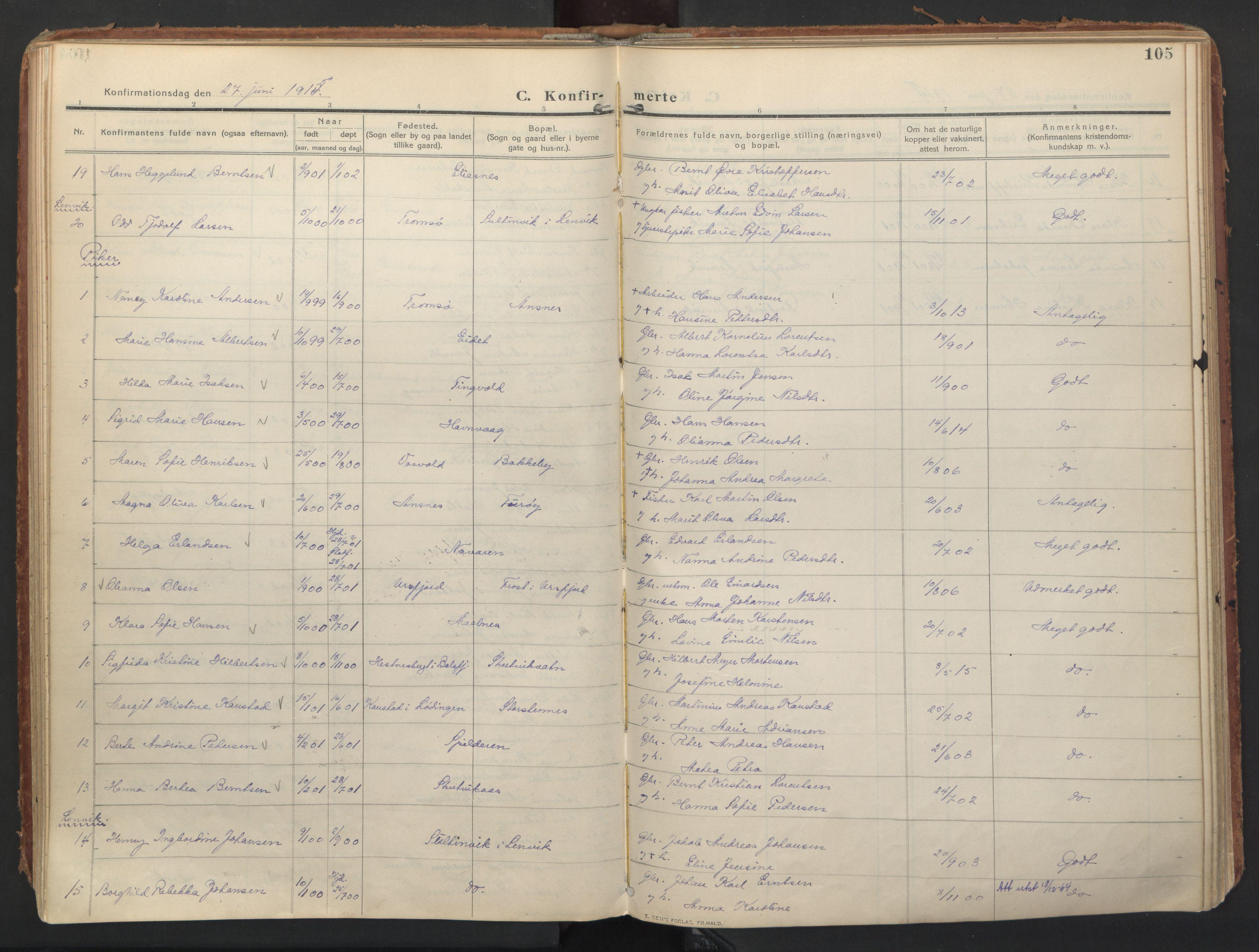 SATØ, Balsfjord sokneprestembete, Ministerialbok nr. 8, 1910-1927, s. 105