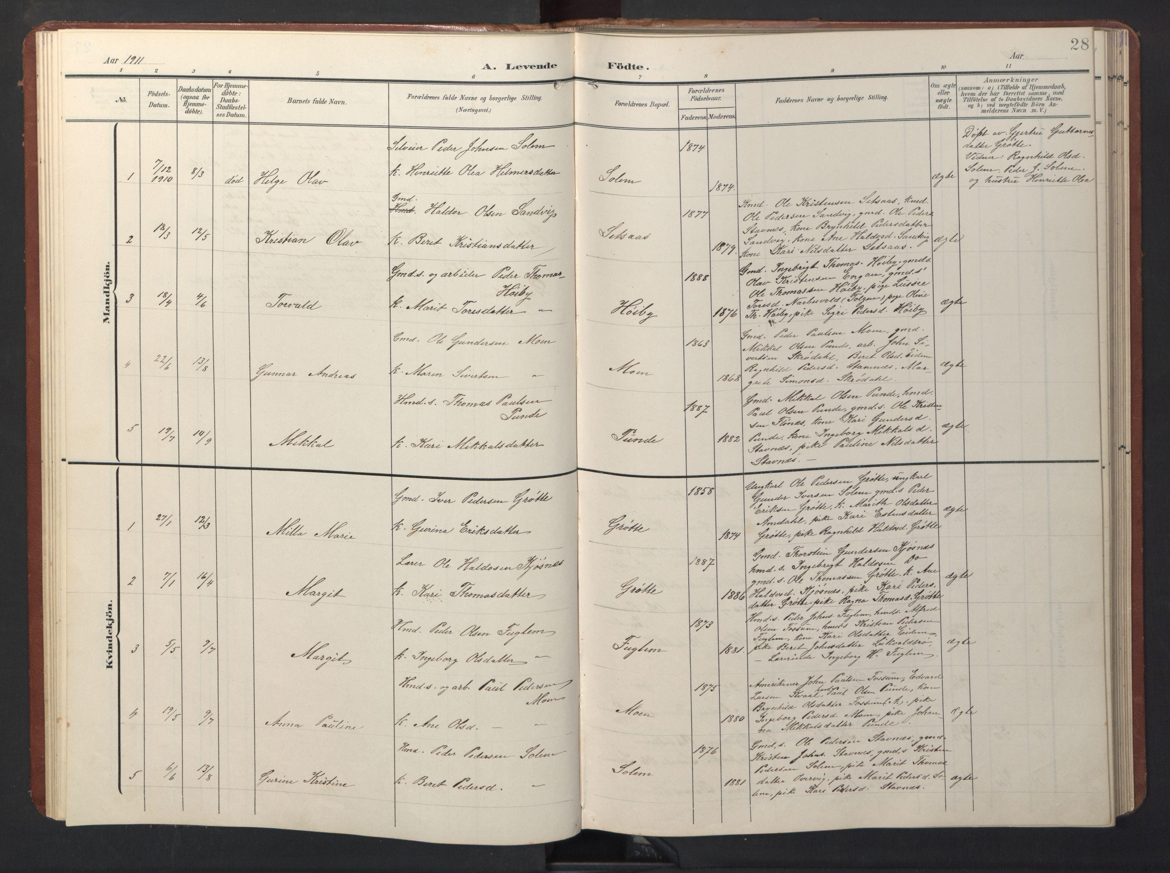 SAT, Ministerialprotokoller, klokkerbøker og fødselsregistre - Sør-Trøndelag, 696/L1161: Klokkerbok nr. 696C01, 1902-1950, s. 28