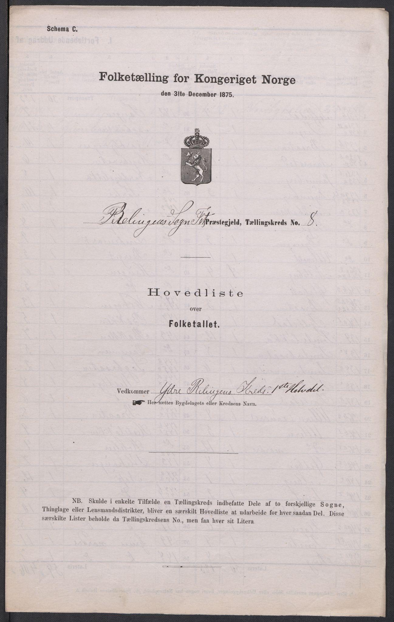 RA, Folketelling 1875 for 0227P Fet prestegjeld, 1875, s. 71