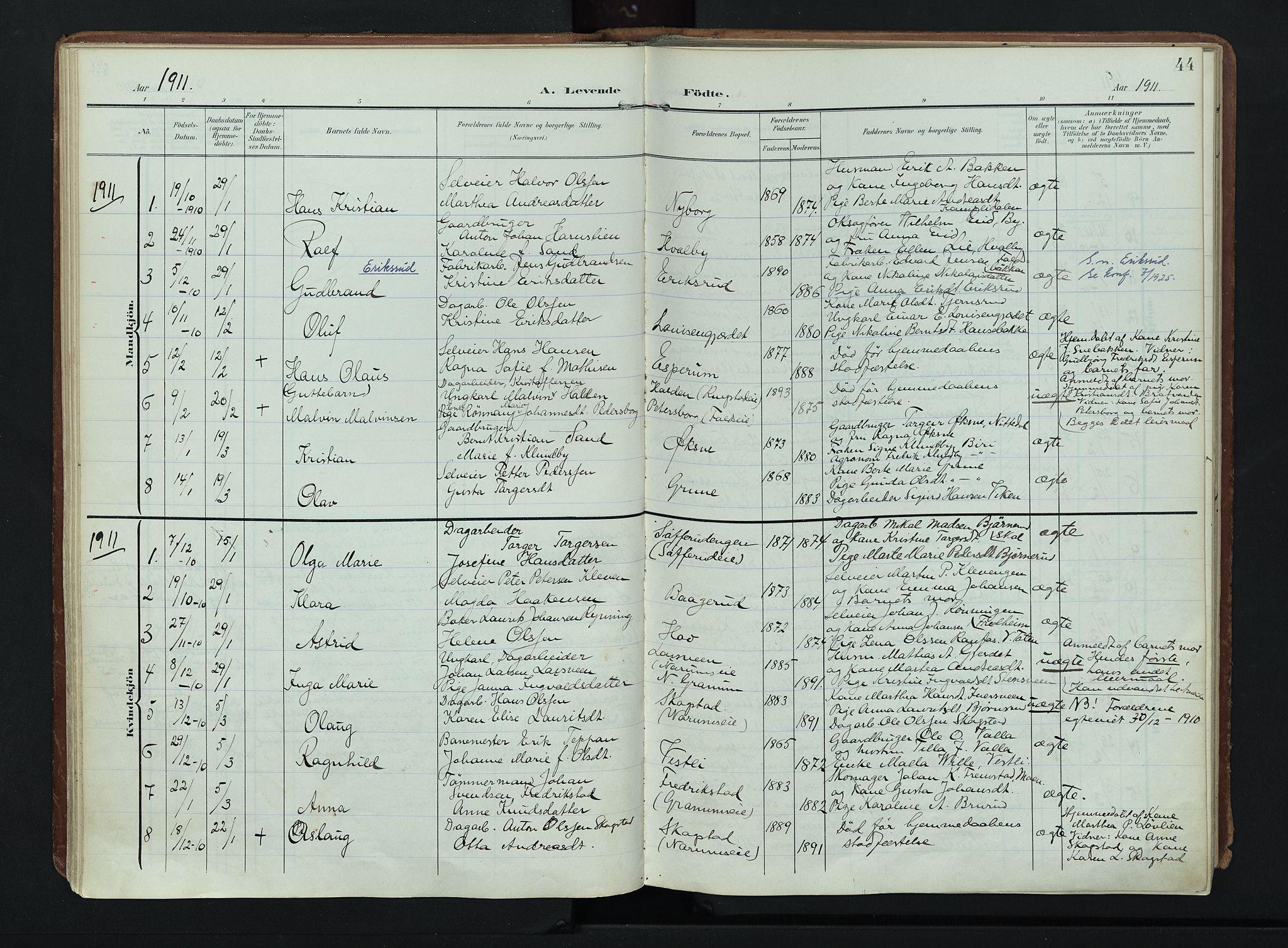 SAH, Søndre Land prestekontor, K/L0007: Ministerialbok nr. 7, 1905-1914, s. 44