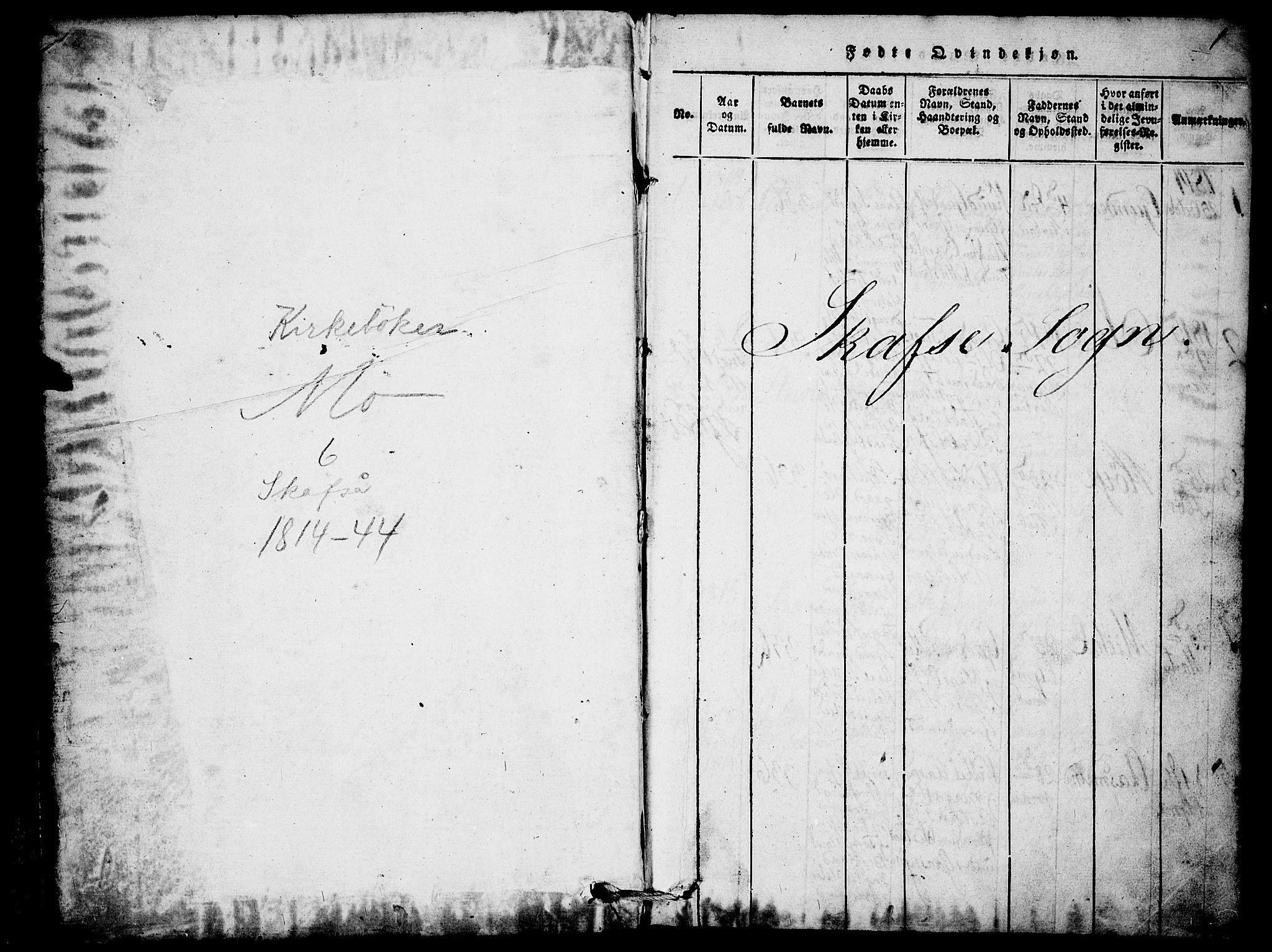 SAKO, Mo kirkebøker, F/Fb/L0001: Ministerialbok nr. II 1, 1814-1844, s. 1