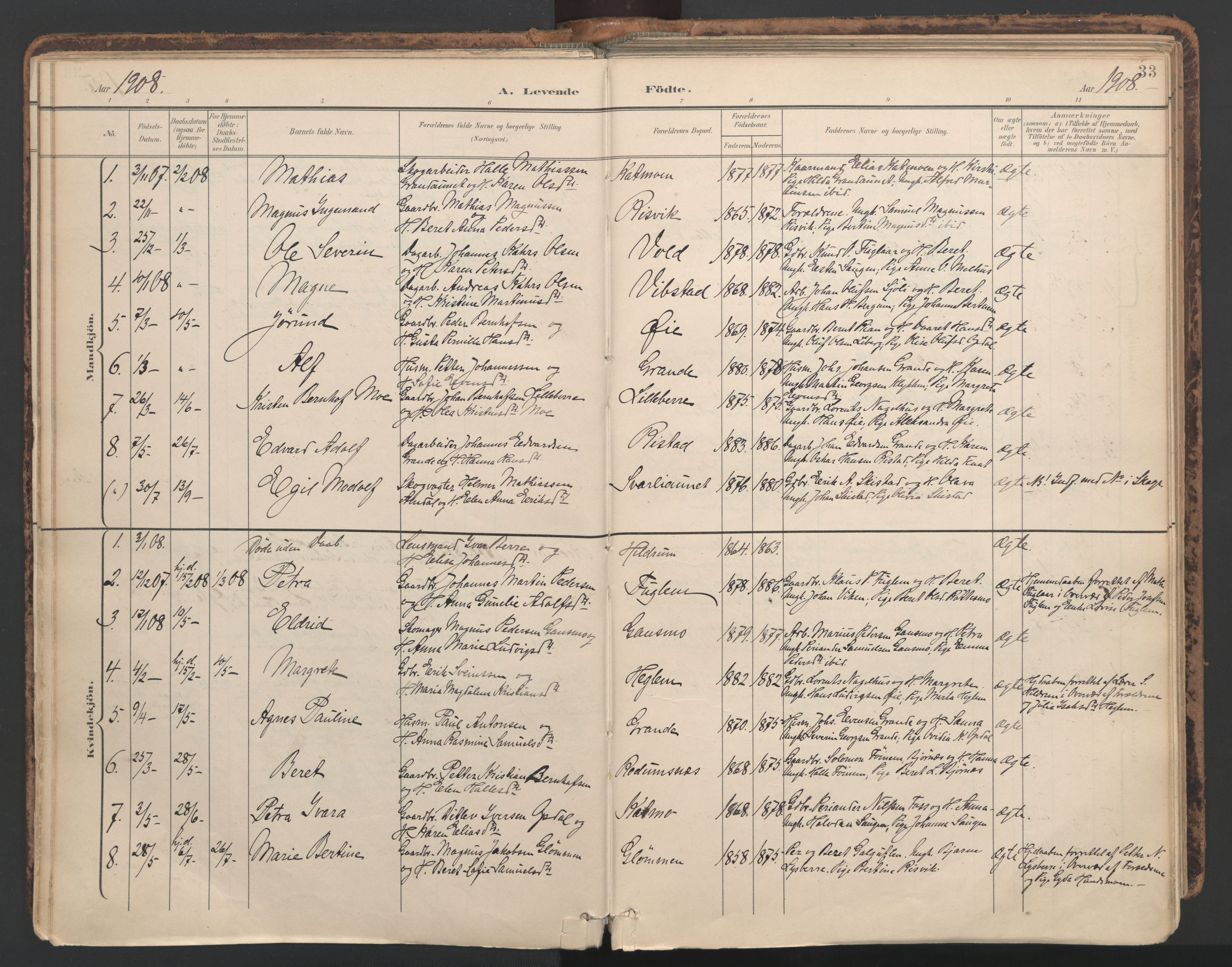 SAT, Ministerialprotokoller, klokkerbøker og fødselsregistre - Nord-Trøndelag, 764/L0556: Ministerialbok nr. 764A11, 1897-1924, s. 33