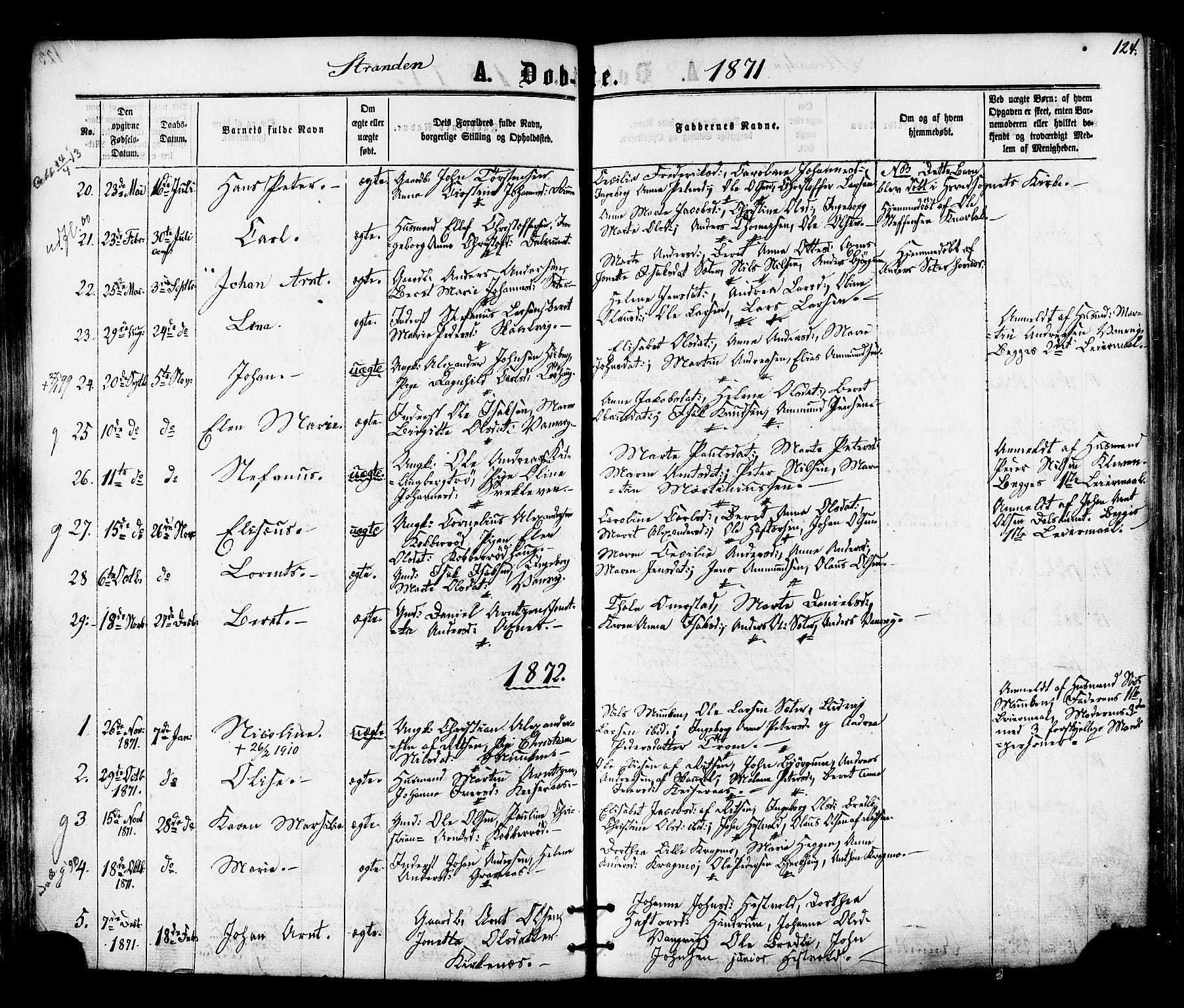 SAT, Ministerialprotokoller, klokkerbøker og fødselsregistre - Nord-Trøndelag, 701/L0009: Ministerialbok nr. 701A09 /2, 1864-1882, s. 124