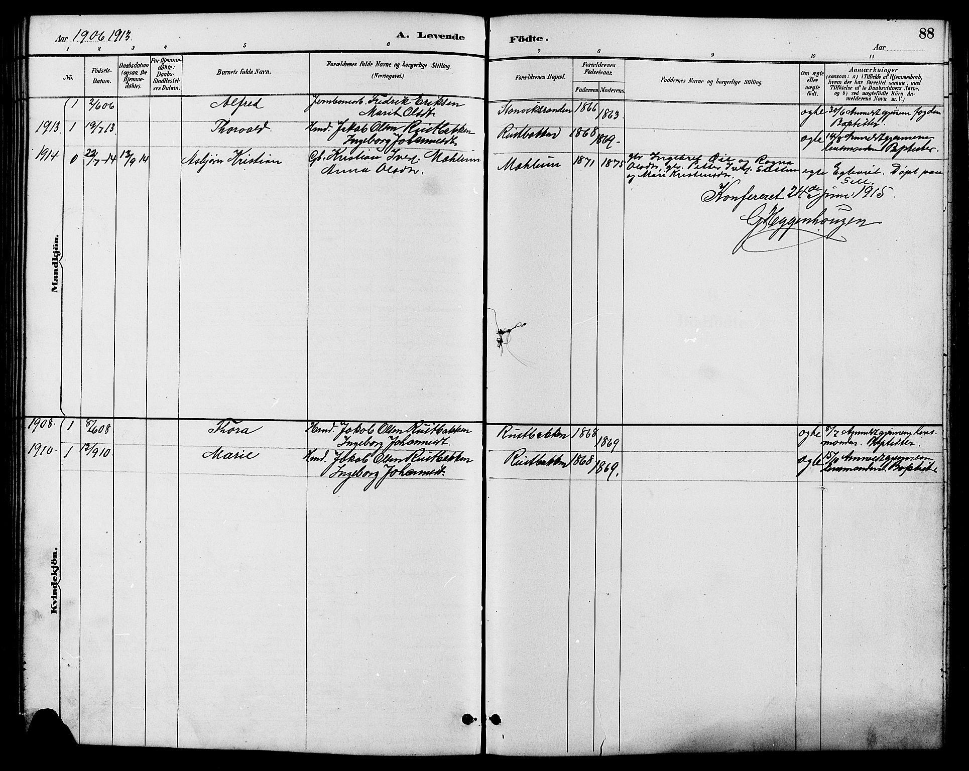 SAH, Nord-Fron prestekontor, Klokkerbok nr. 6, 1887-1914, s. 88