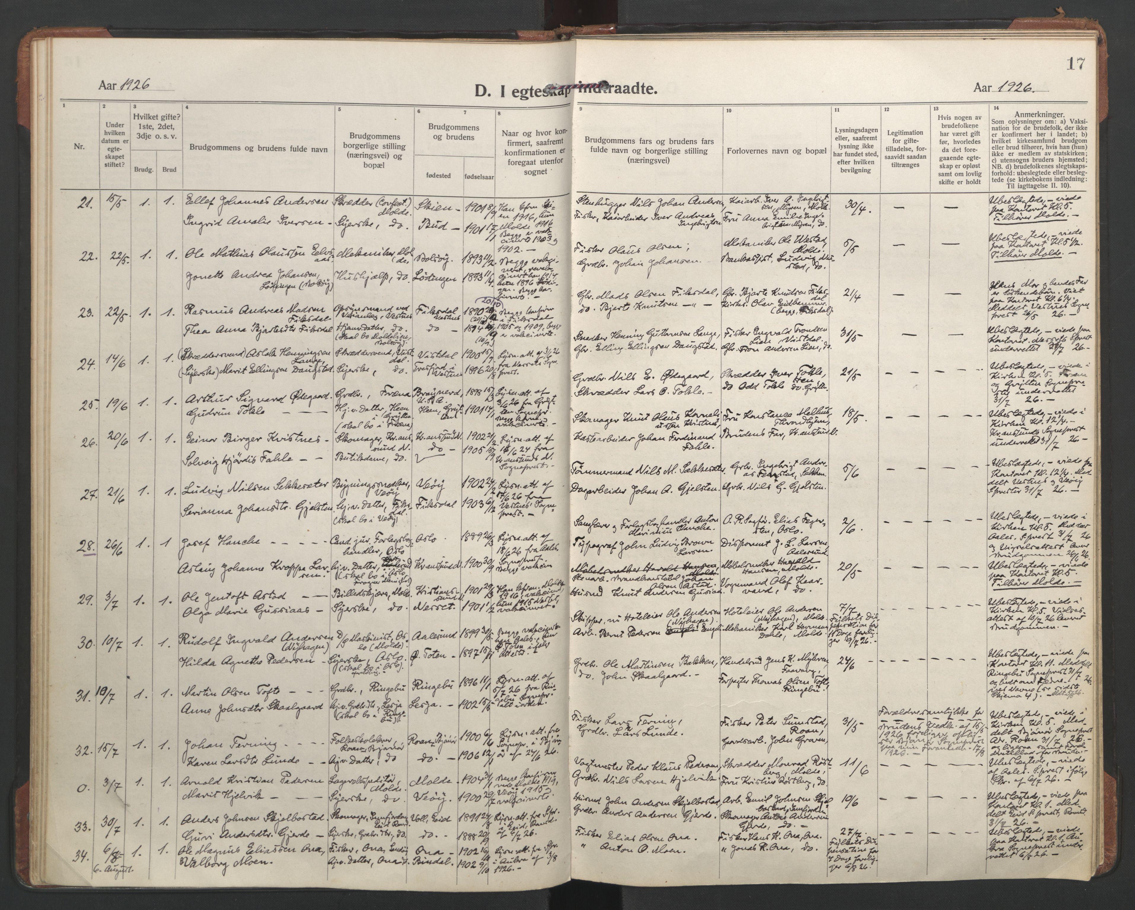 SAT, Ministerialprotokoller, klokkerbøker og fødselsregistre - Møre og Romsdal, 558/L0698: Ministerialbok nr. 558A12, 1922-1937, s. 17