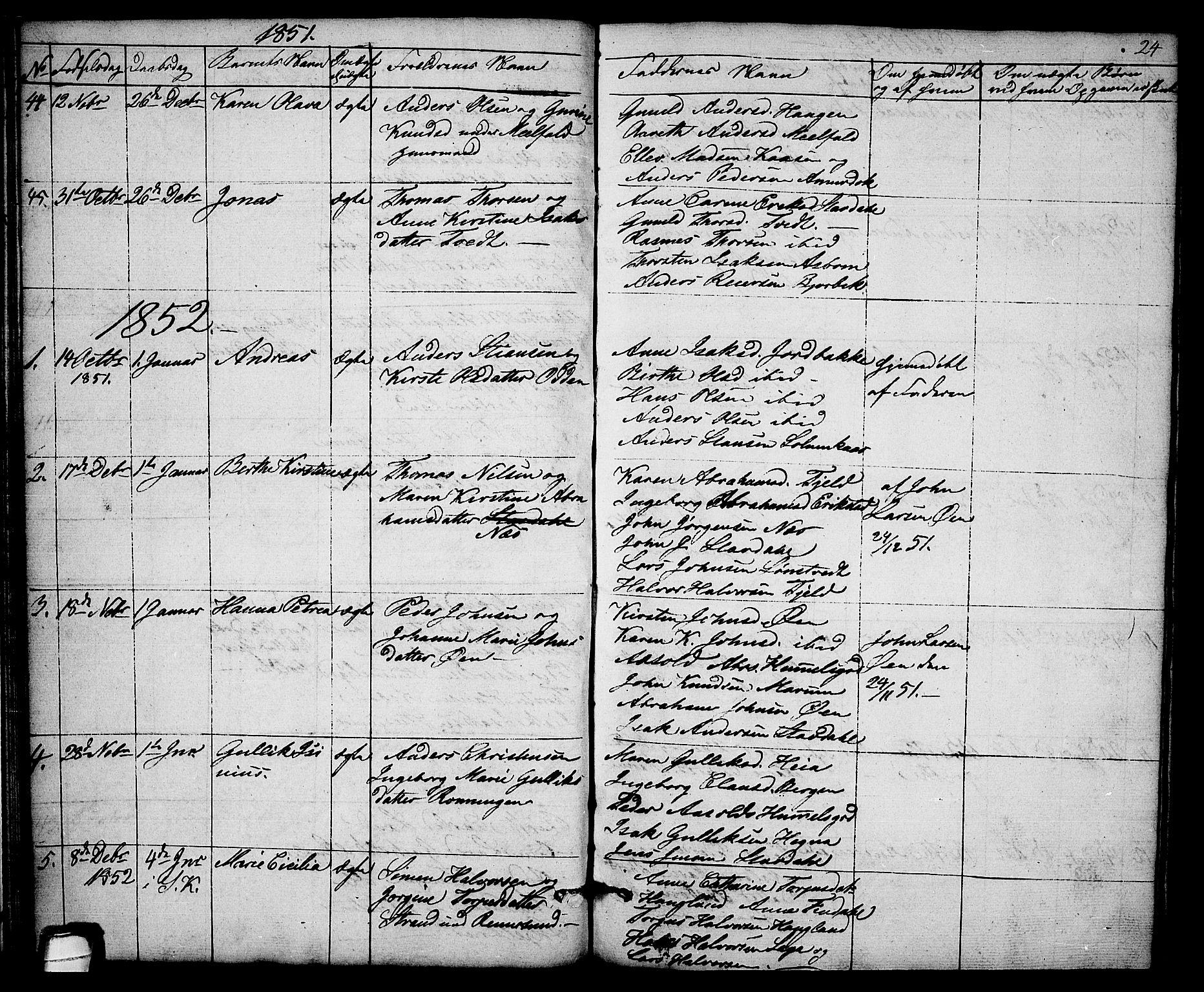 SAKO, Solum kirkebøker, G/Gb/L0001: Klokkerbok nr. II 1, 1848-1859, s. 24