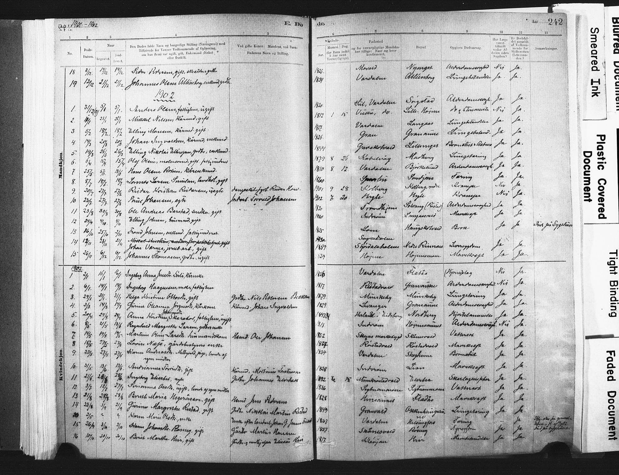 SAT, Ministerialprotokoller, klokkerbøker og fødselsregistre - Nord-Trøndelag, 721/L0207: Ministerialbok nr. 721A02, 1880-1911, s. 242
